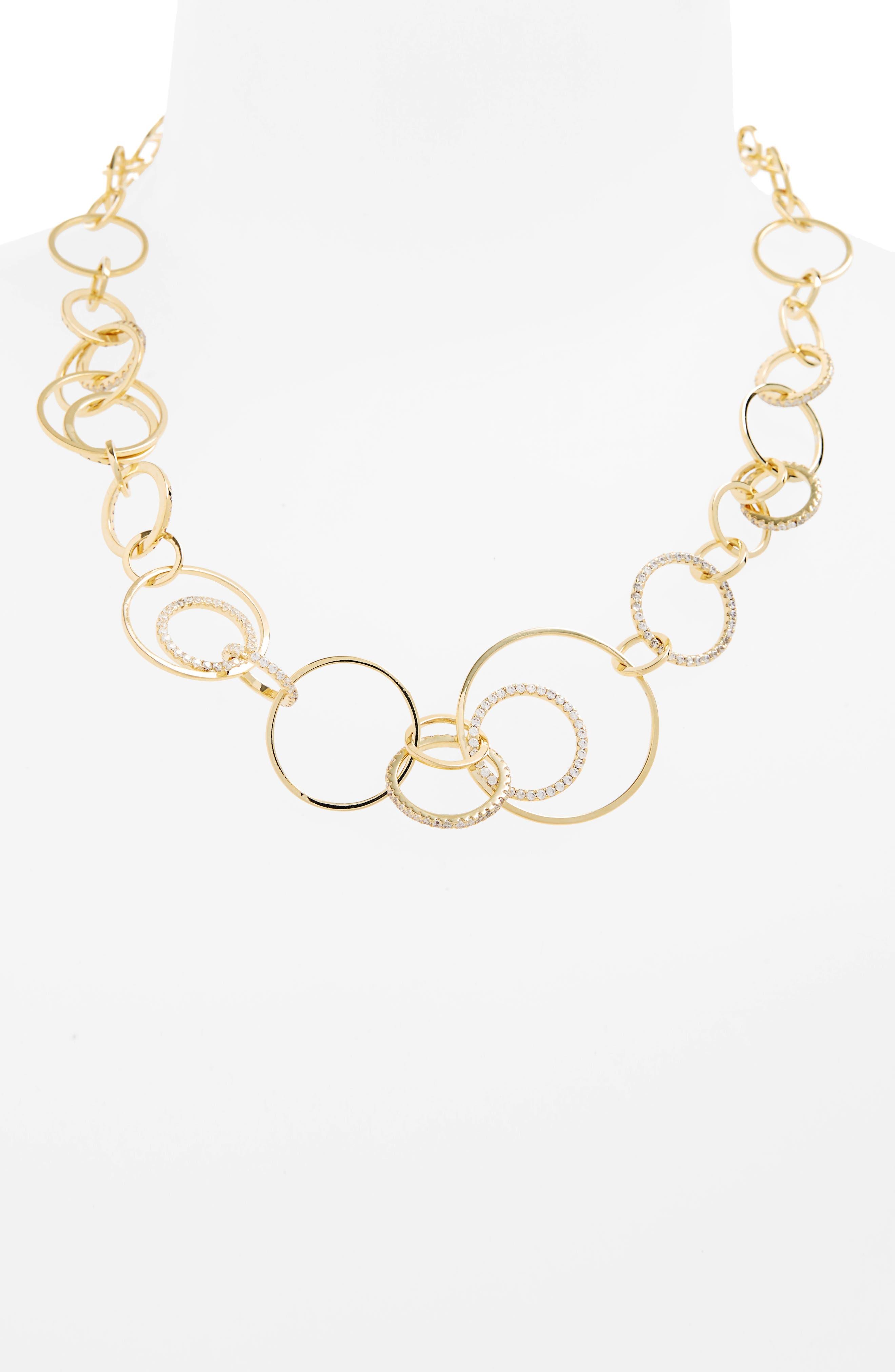 Sarah Cubic Zirconia Collar Necklace,                         Main,                         color, Gold