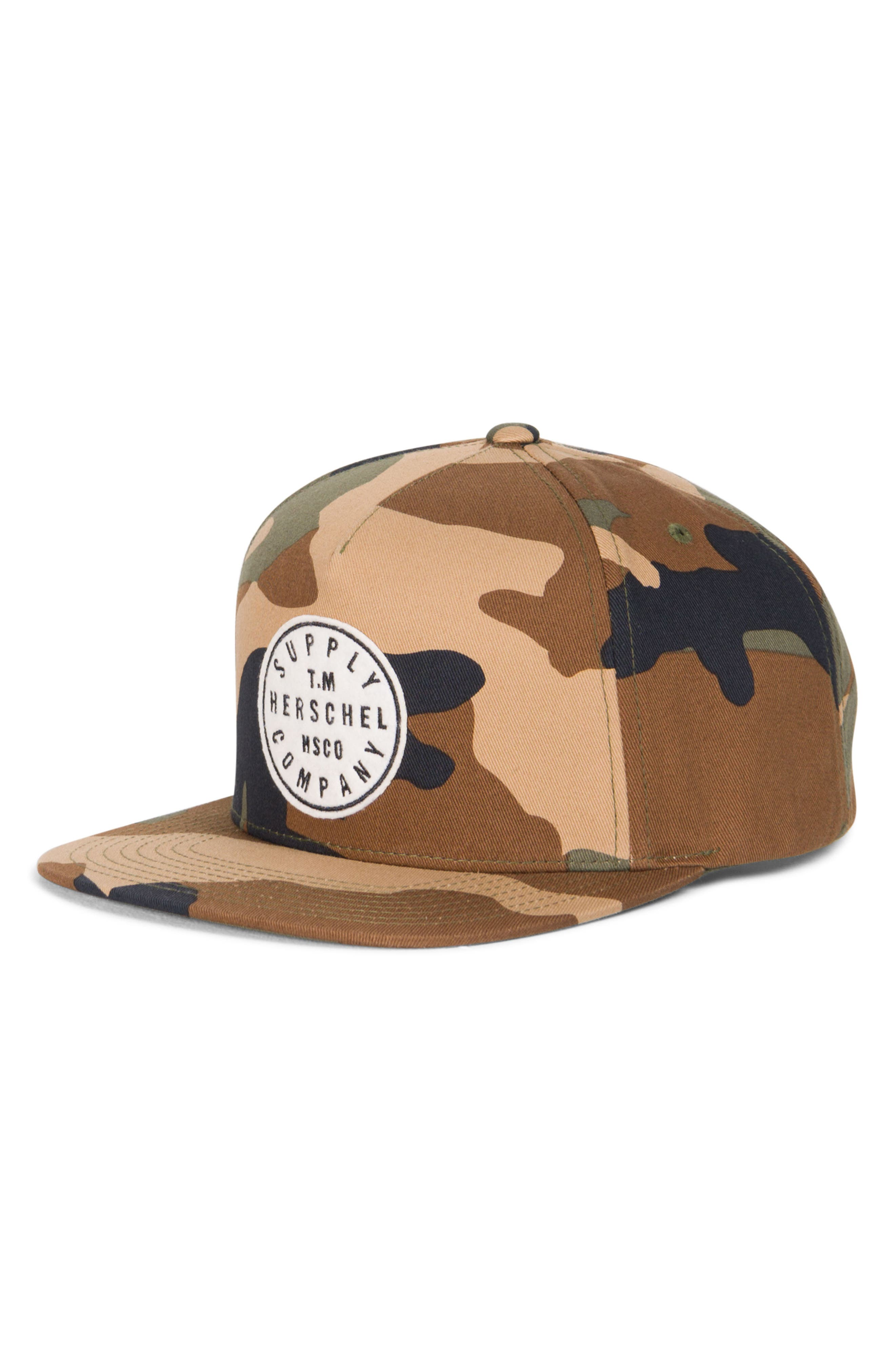 Camo Snapback Baseball Cap,                             Main thumbnail 1, color,                             Woodland Camo