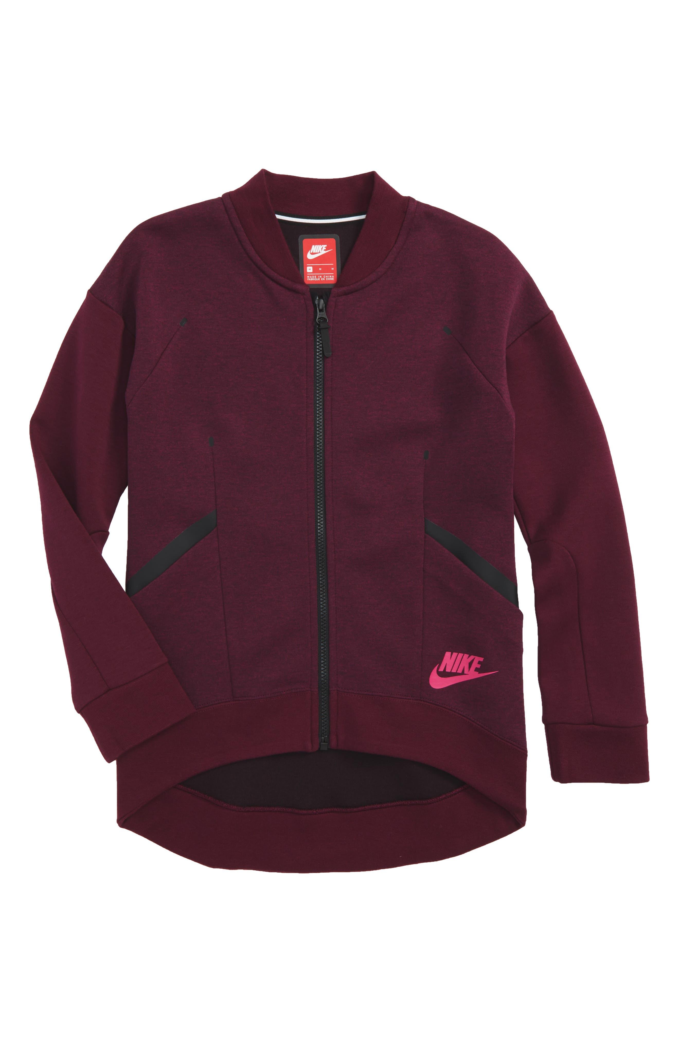 Tech Fleece Zip Jacket,                         Main,                         color, Bordeaux/ Active Pink