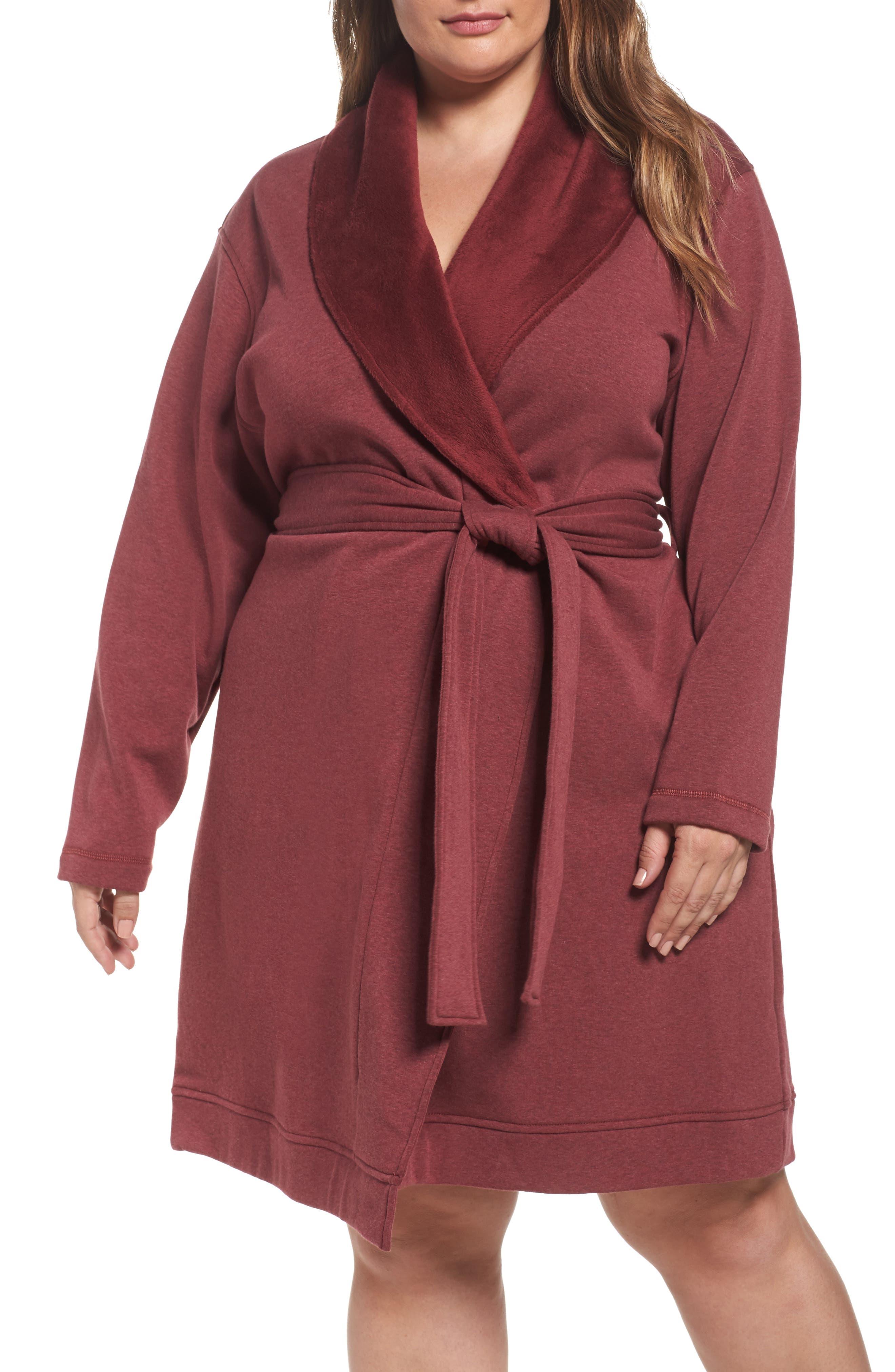 Alternate Image 1 Selected - UGG® 'Blanche' Plush Shawl Collar Robe (Plus Size)