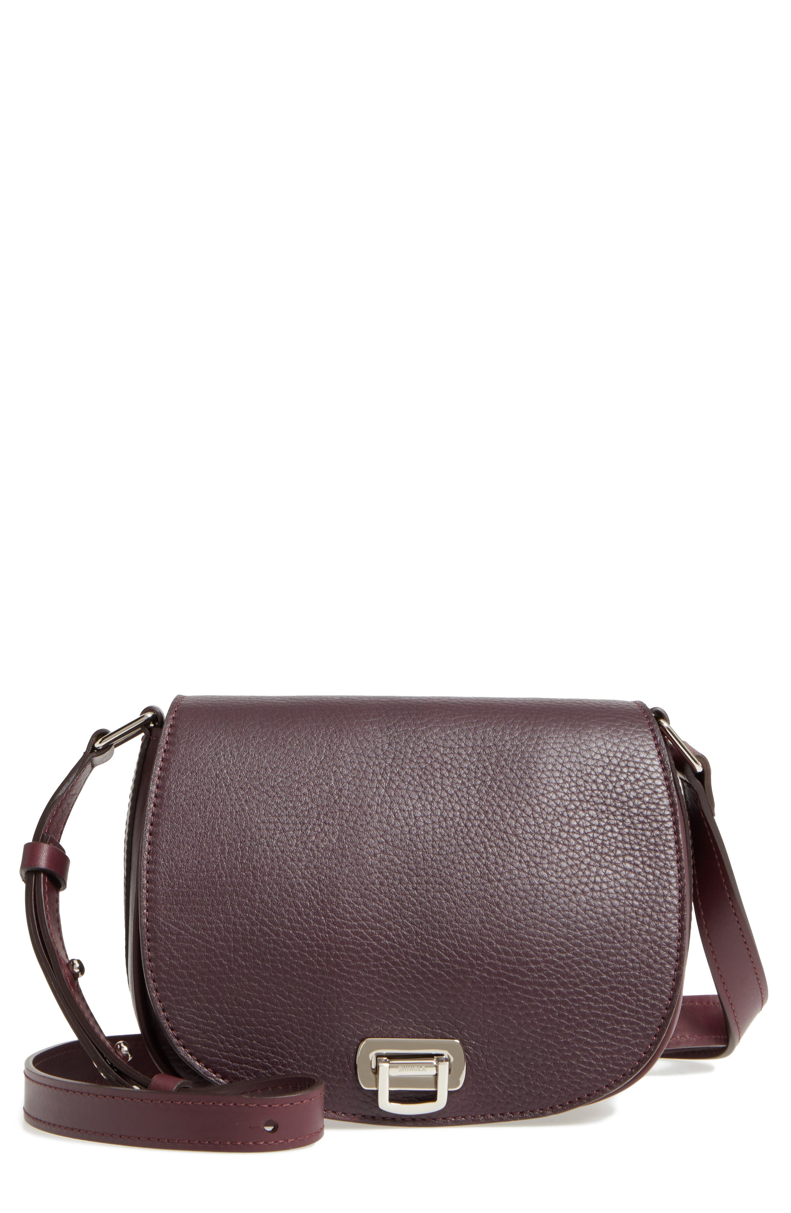 Calfskin Leather Shoulder Bag,                             Main thumbnail 1, color,                             Aubergine