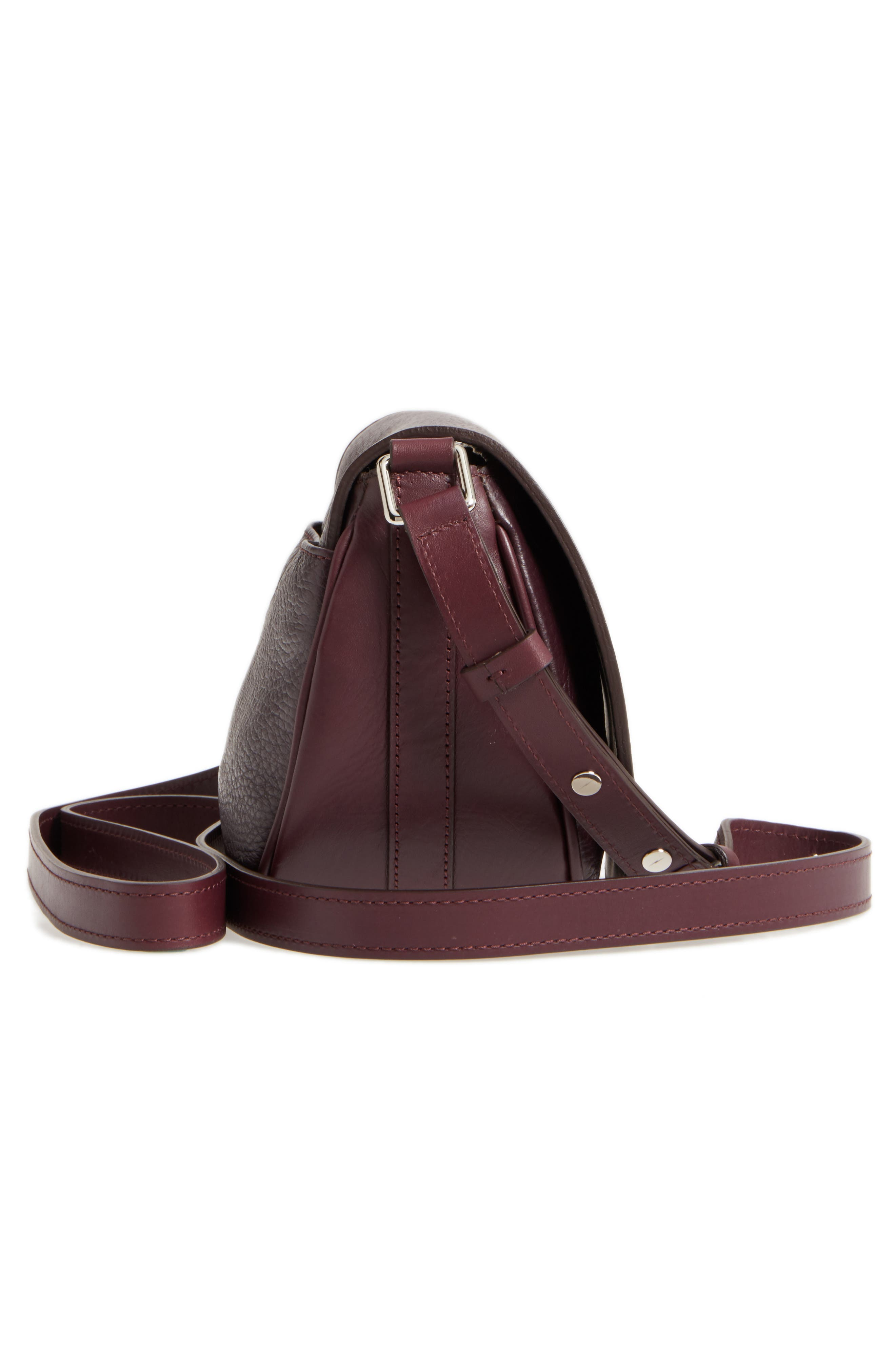 Calfskin Leather Shoulder Bag,                             Alternate thumbnail 5, color,                             Aubergine