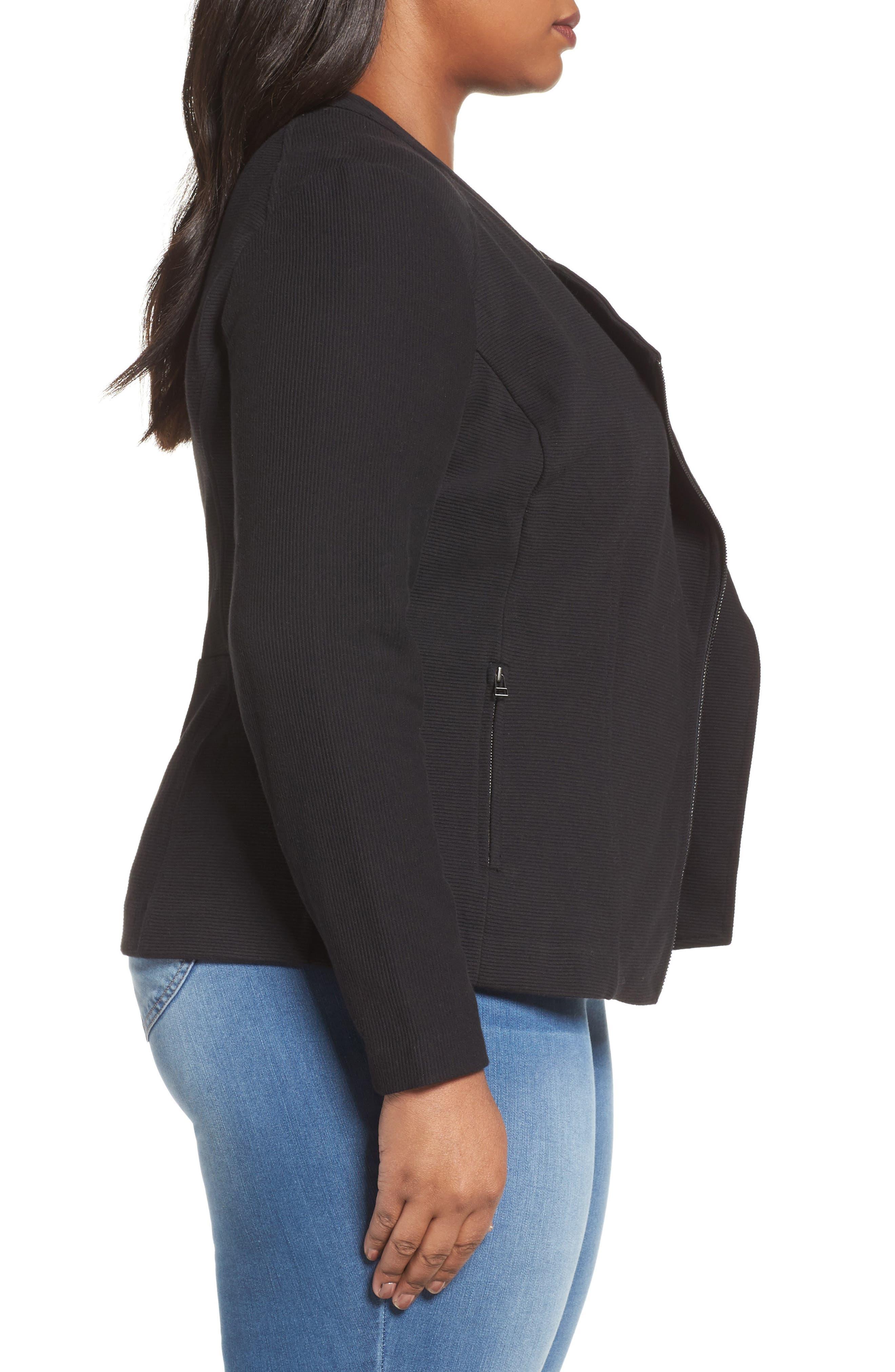 Ottoman Moto Jacket,                             Alternate thumbnail 3, color,                             Black