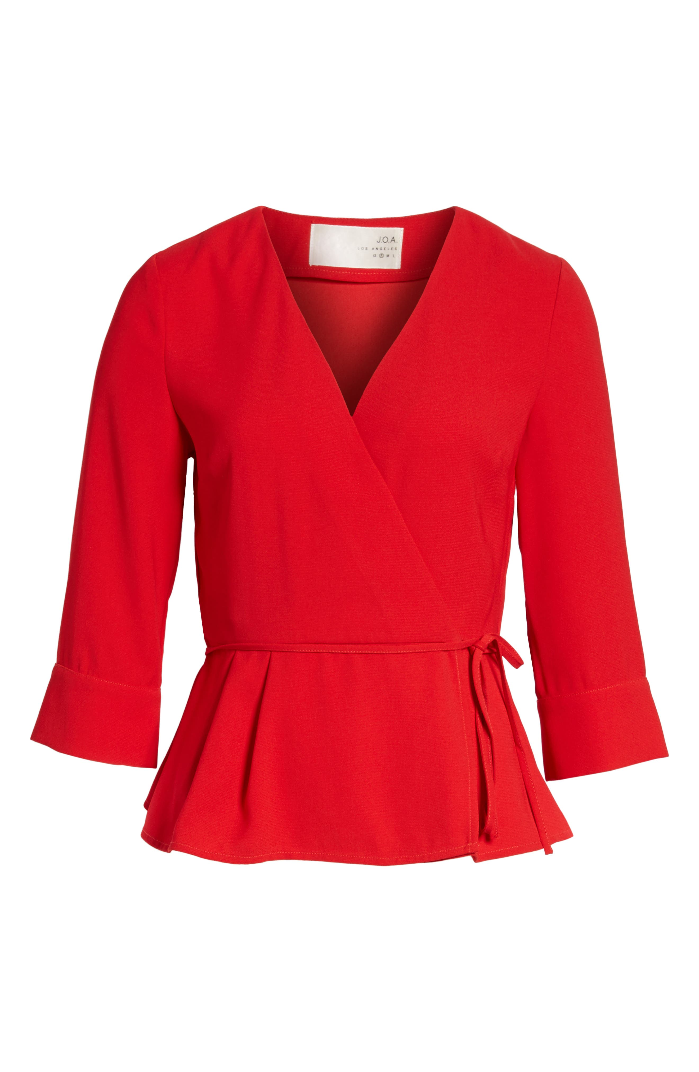 Wrap Top,                             Alternate thumbnail 6, color,                             Red
