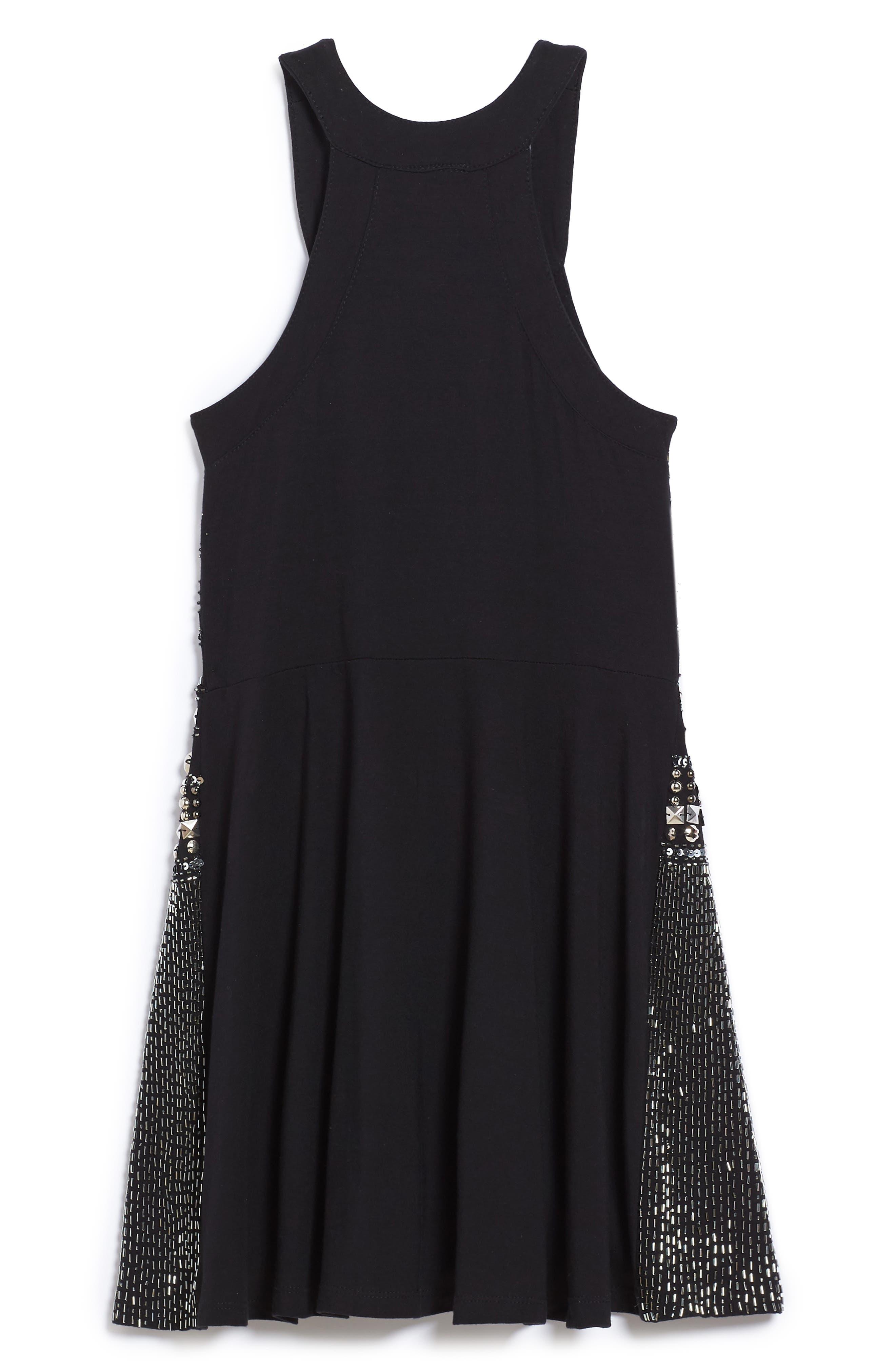 Embellished Halter Skater Dress,                             Alternate thumbnail 2, color,                             Black