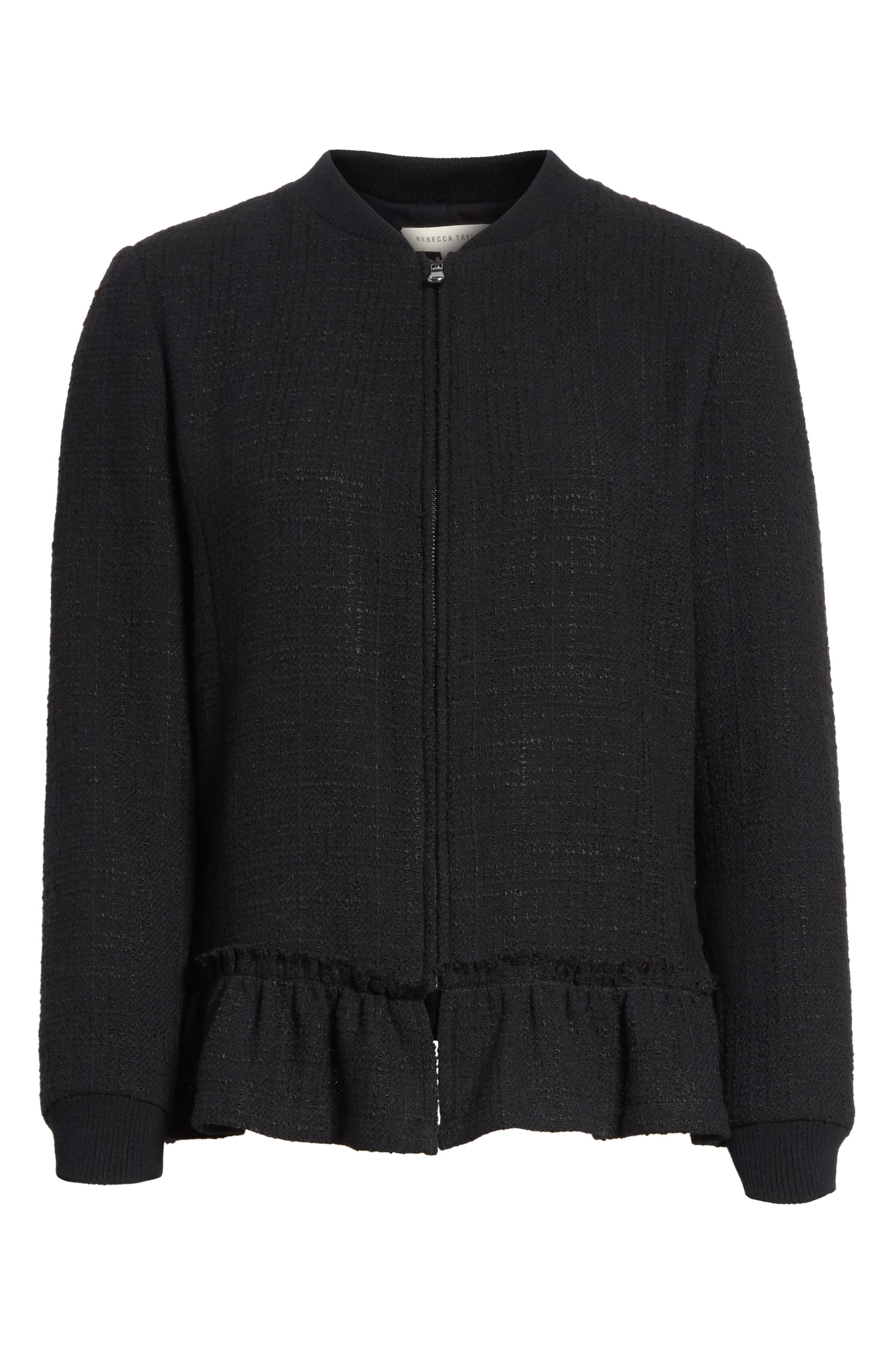 Textured Tweed Jacket,                             Alternate thumbnail 7, color,                             Black