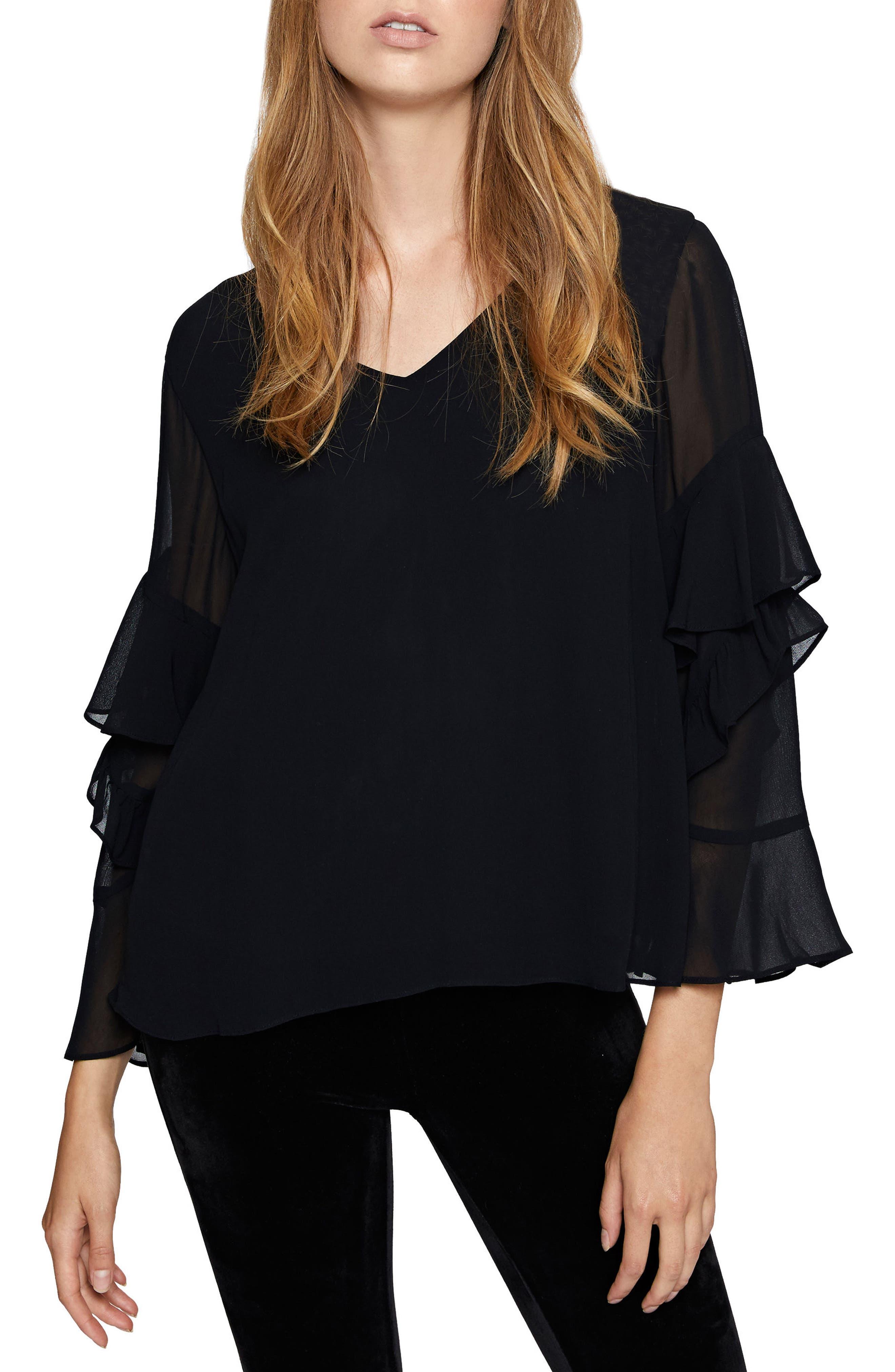 Bianca Sheer Sleeve Top,                         Main,                         color, Black