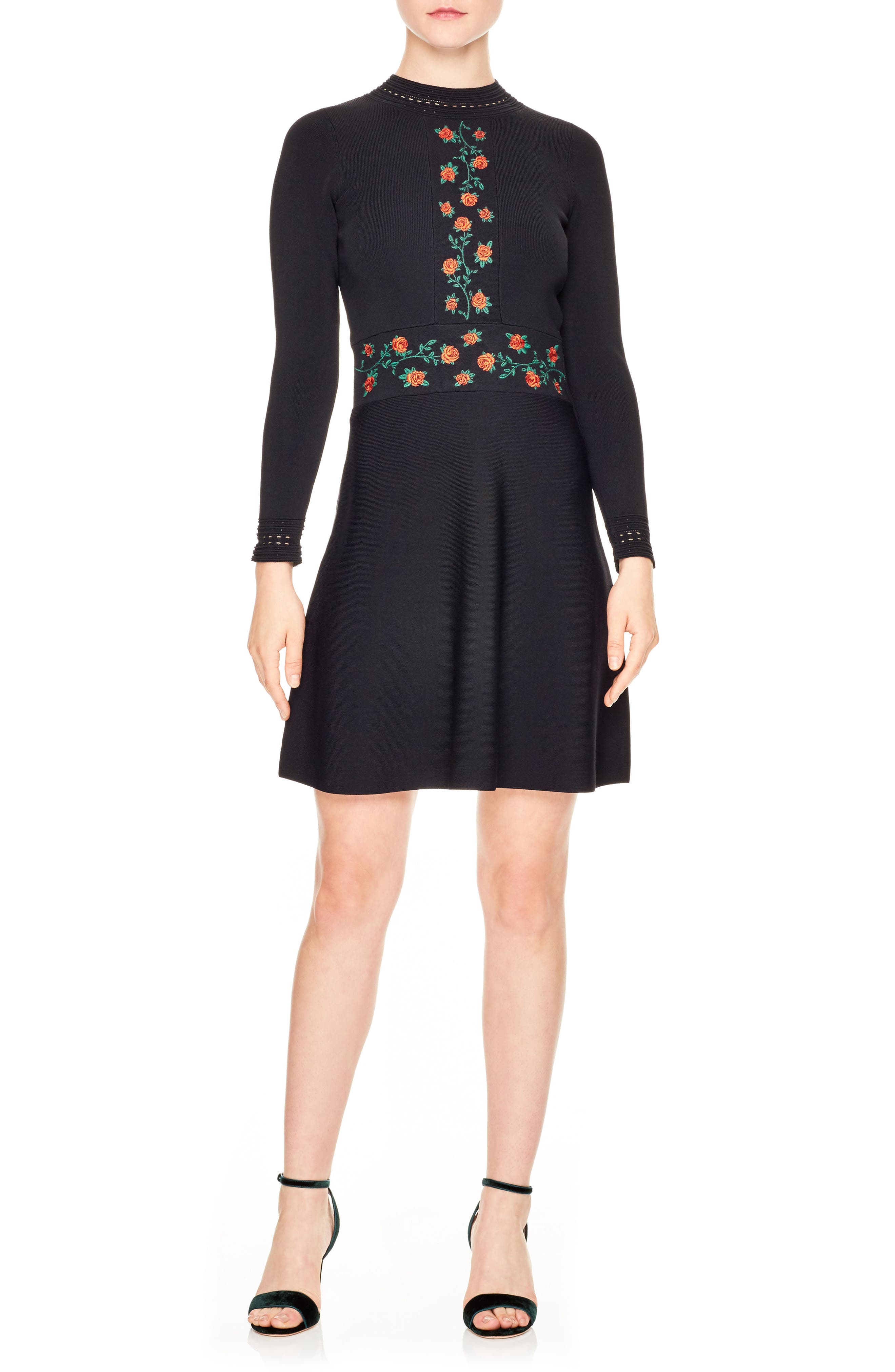 Main Image - sandro Giorgia Knit Fit & Flare Dress