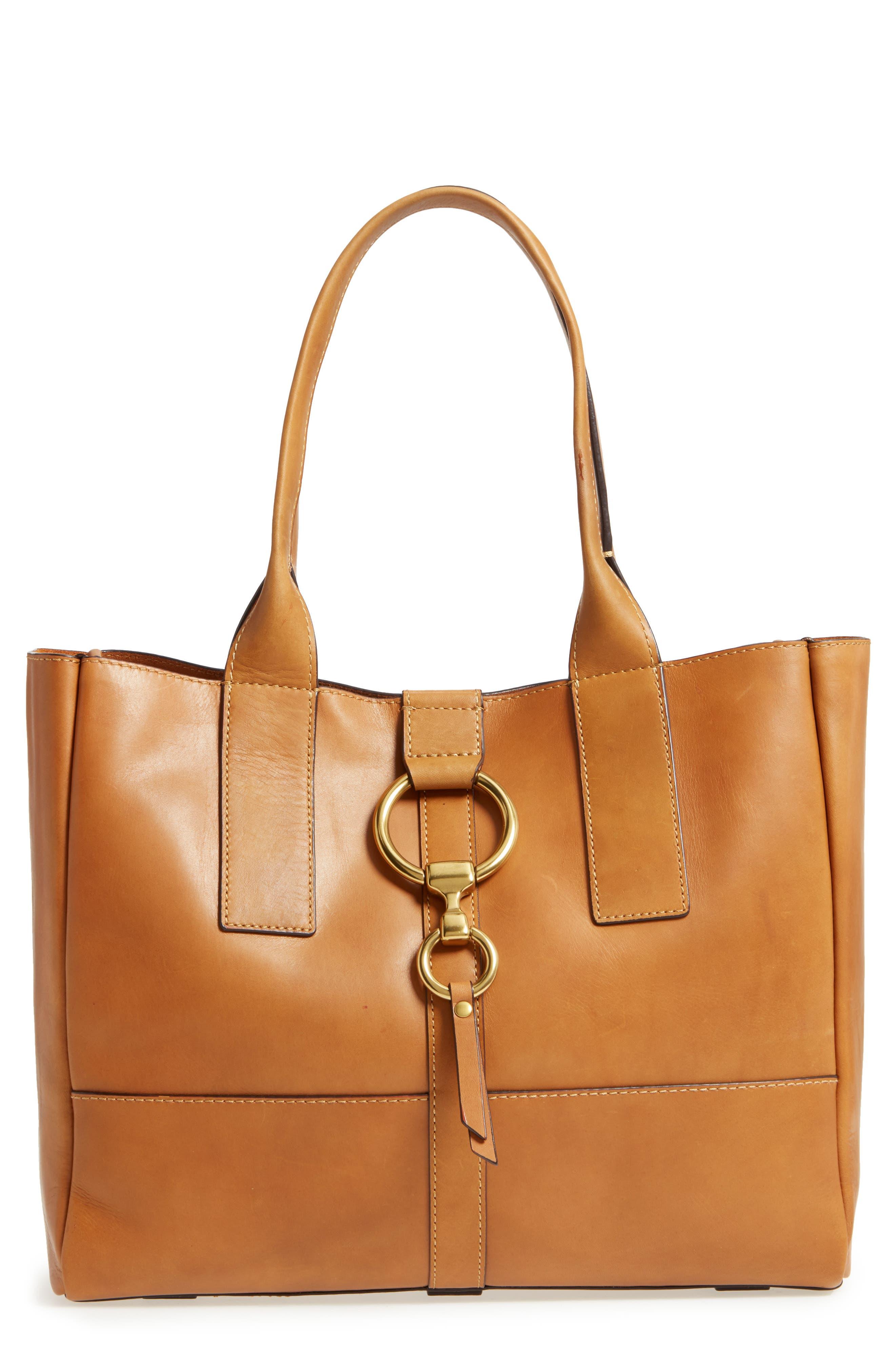 Ilana Harness Leather Shopper,                             Main thumbnail 1, color,                             Cognac