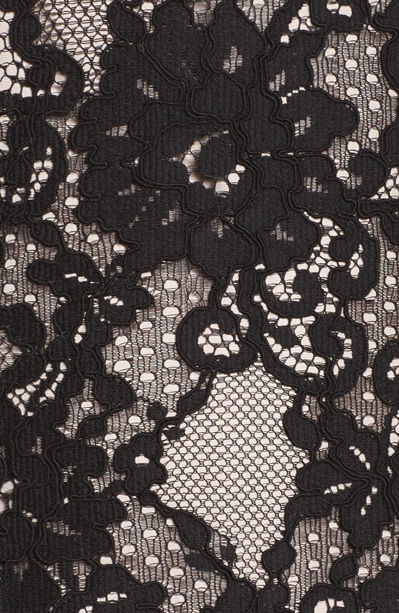 Hale Lace Sheath Dress,                             Alternate thumbnail 5, color,                             Black