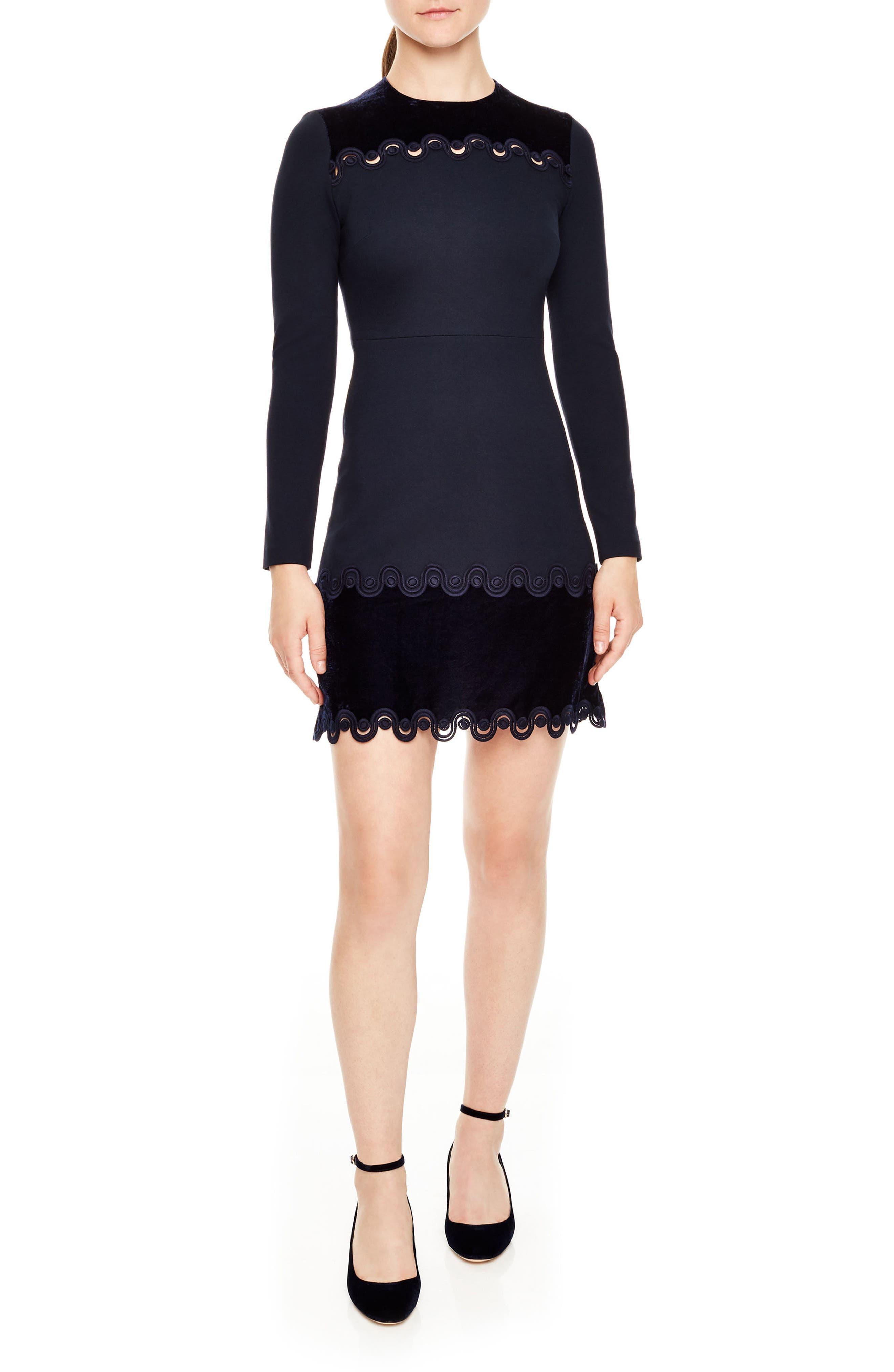 sandro Edma Braid & Velvet Trim Dress