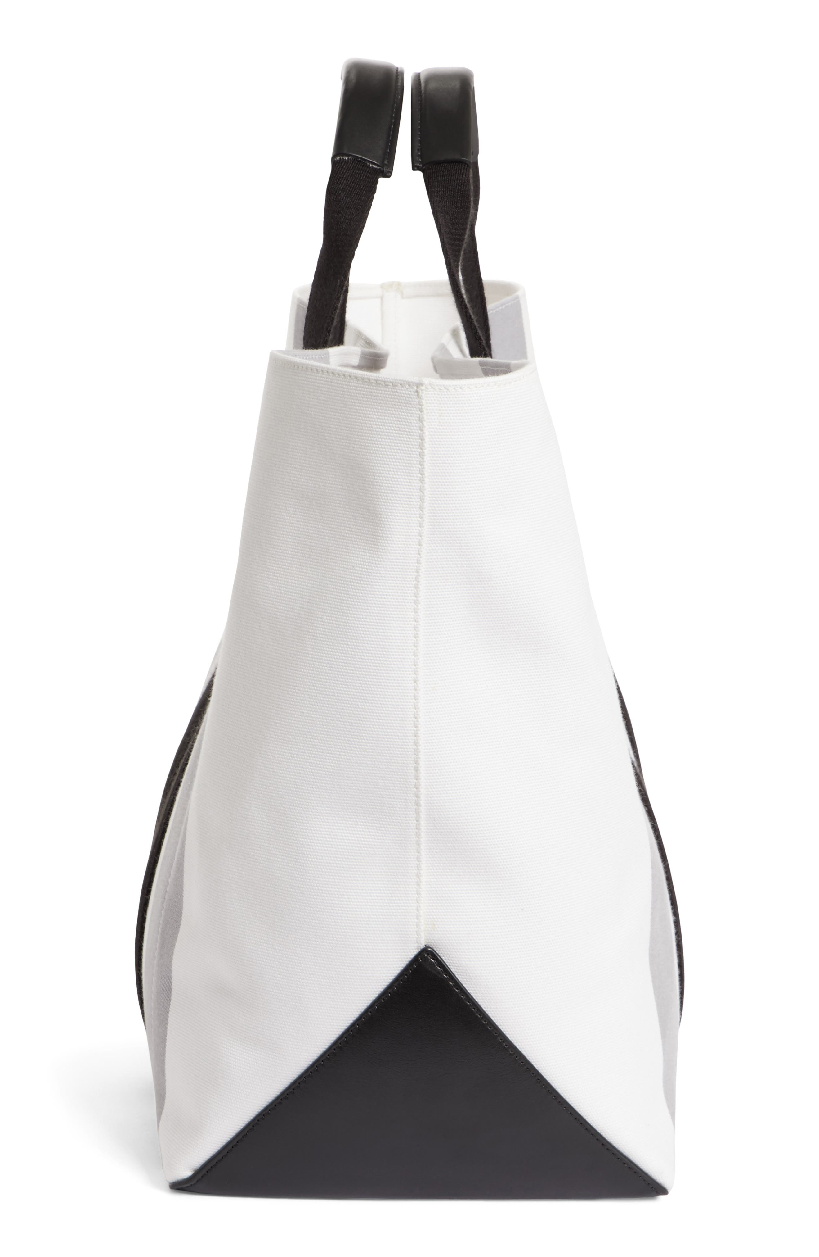 Stripe Canvas Tote,                             Alternate thumbnail 4, color,                             White/ Grey/ Black
