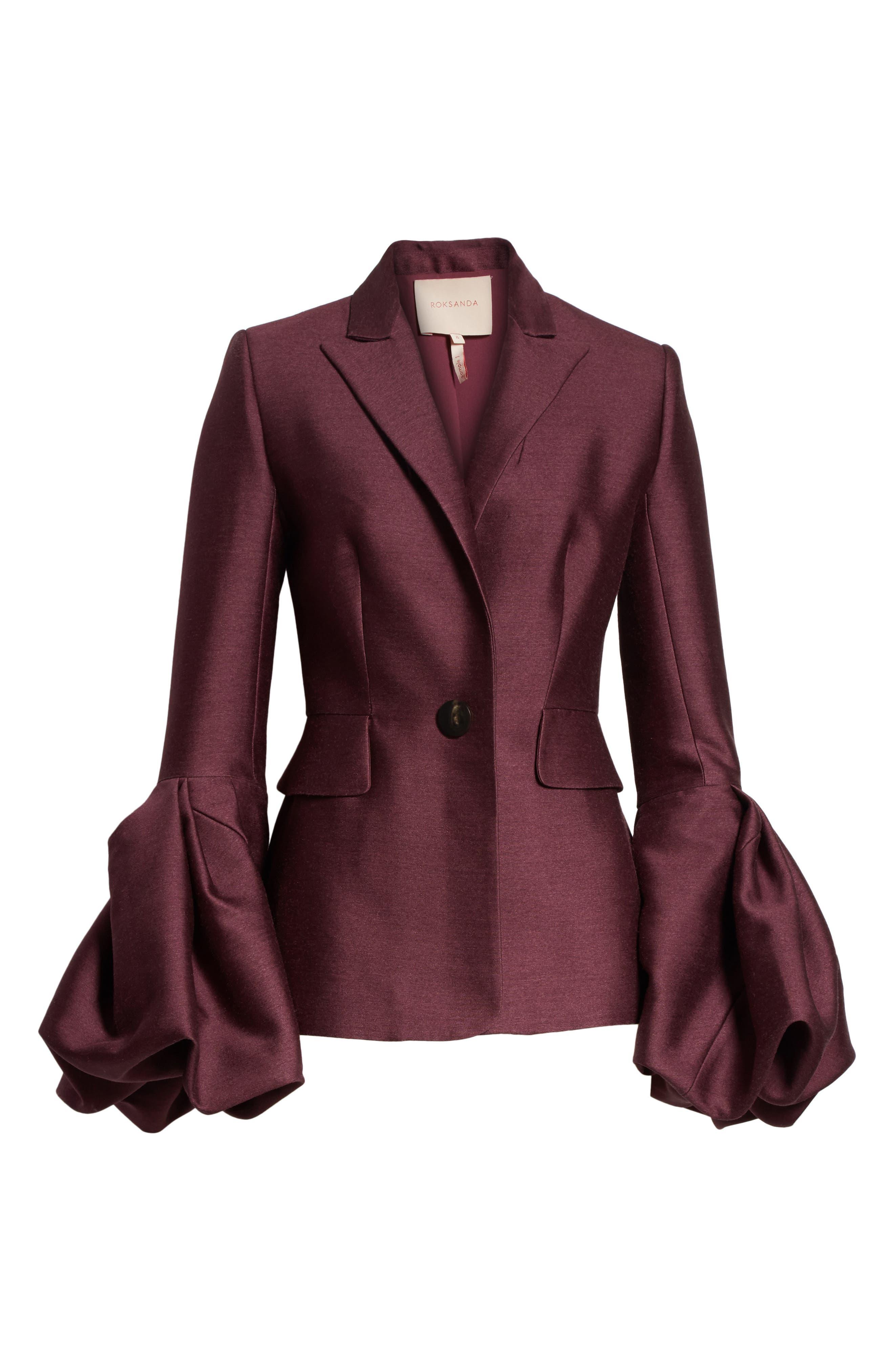 Narika Wool & Silk Jacket,                             Alternate thumbnail 7, color,                             Plum