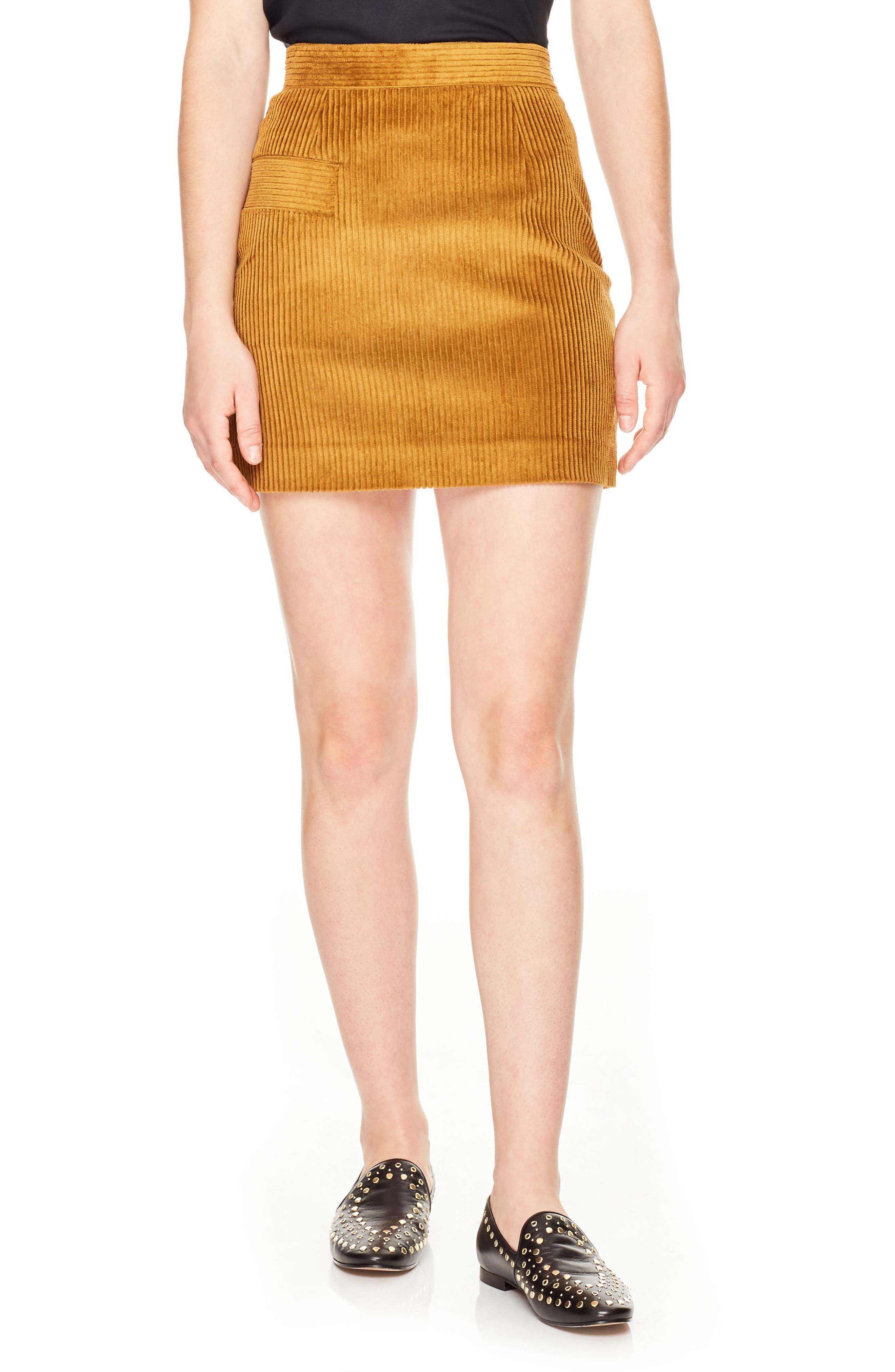 sandro Rayane Ribbed Velvet Skirt