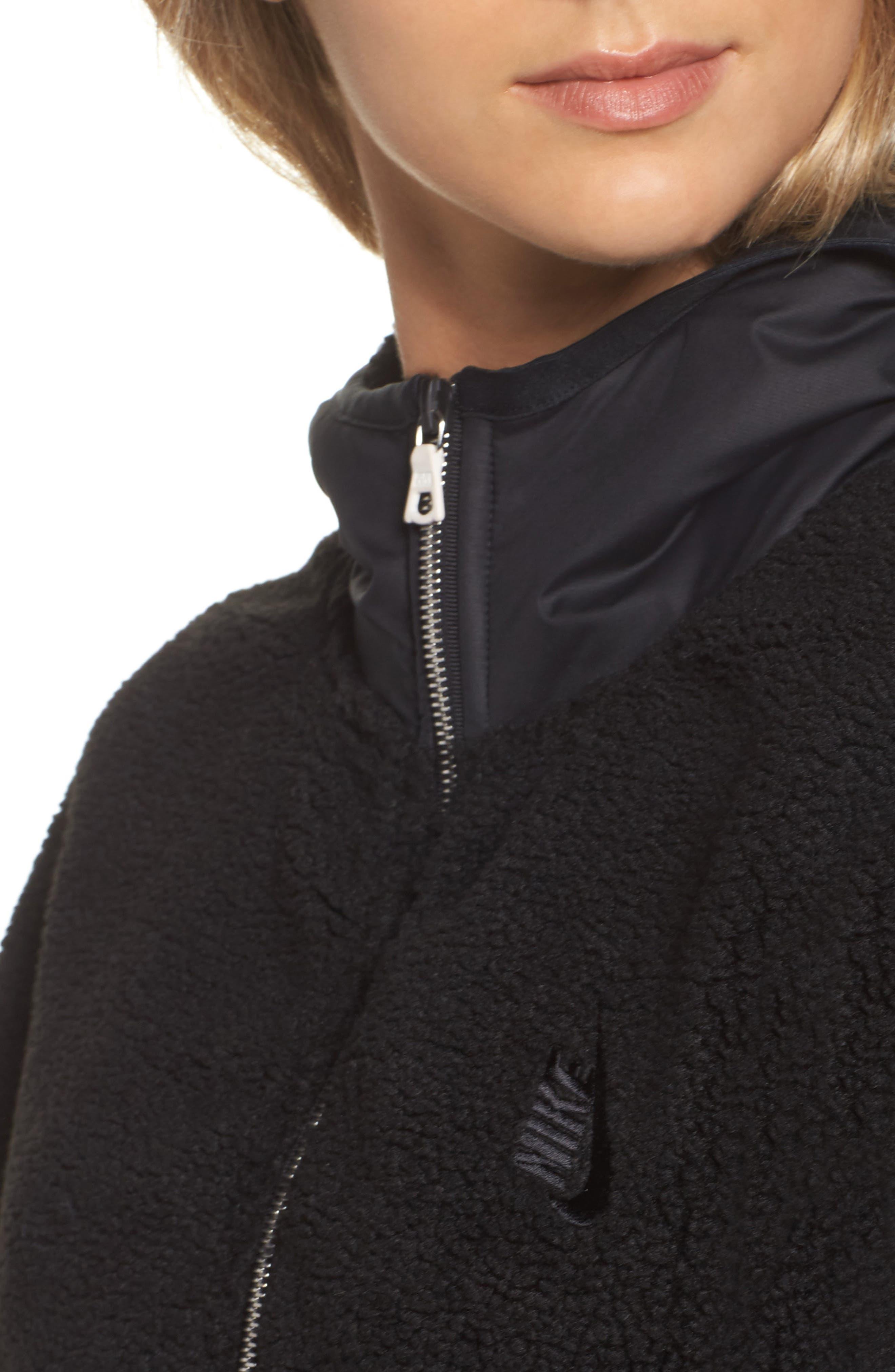 NikeLab Essential Half Zip Fleece Hoodie,                             Alternate thumbnail 4, color,                             Black/ Black
