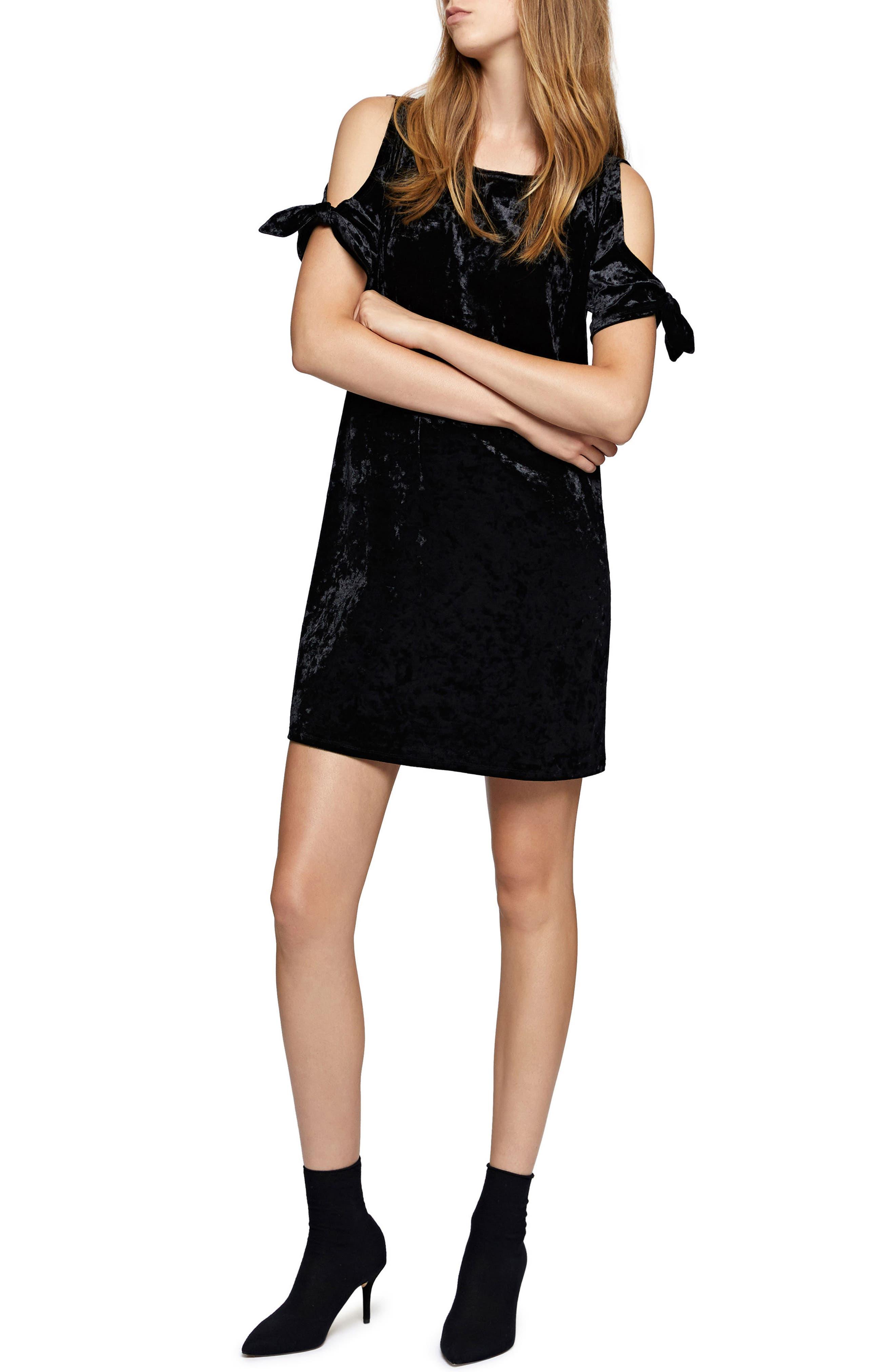 Night Slayer Cold Shoulder Velvet Dress,                             Main thumbnail 1, color,                             Black