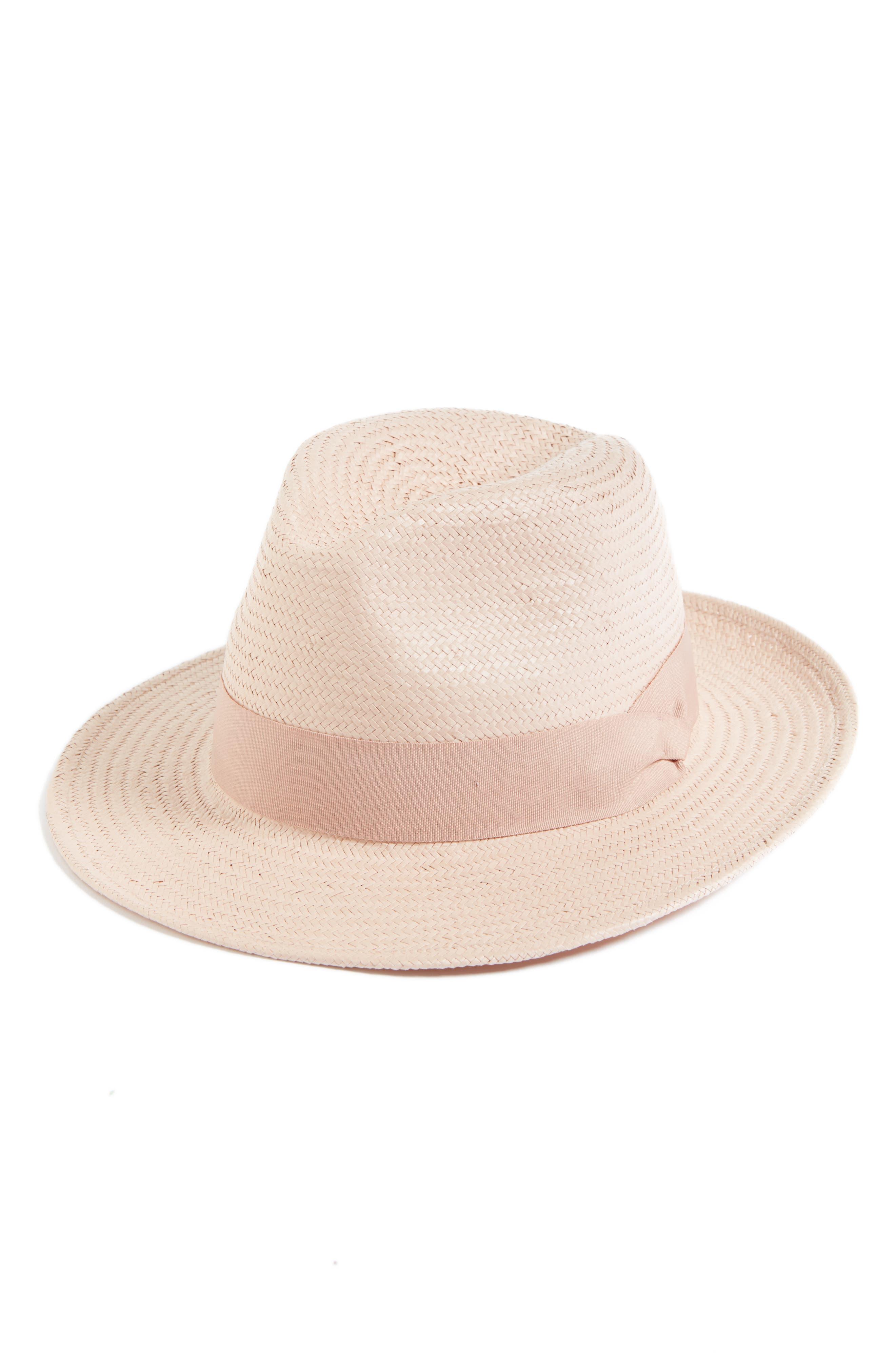 Straw Panama Hat,                             Main thumbnail 1, color,                             Blush
