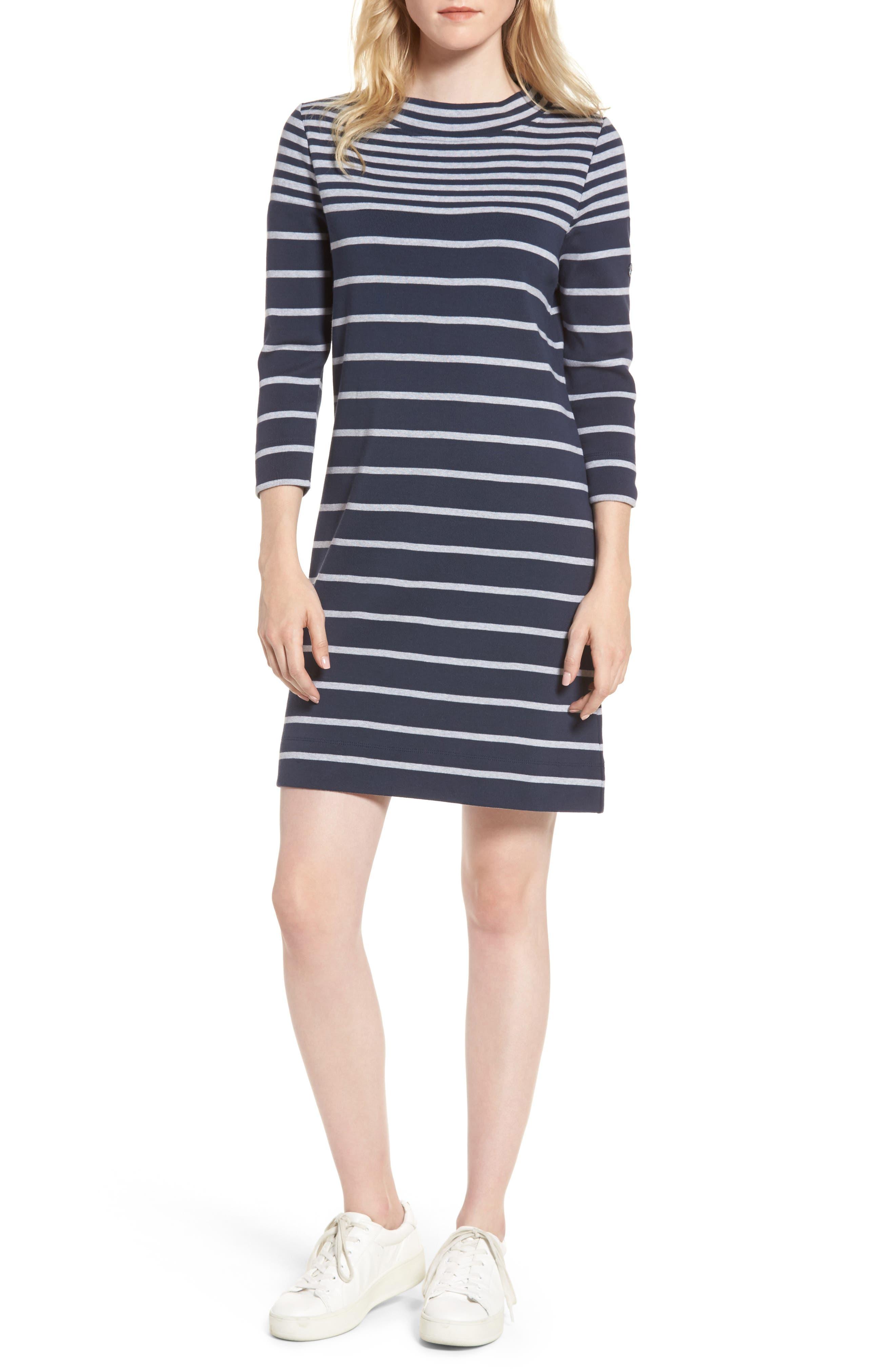 Seaburn Stripe Shift Dress,                             Main thumbnail 1, color,                             Navy