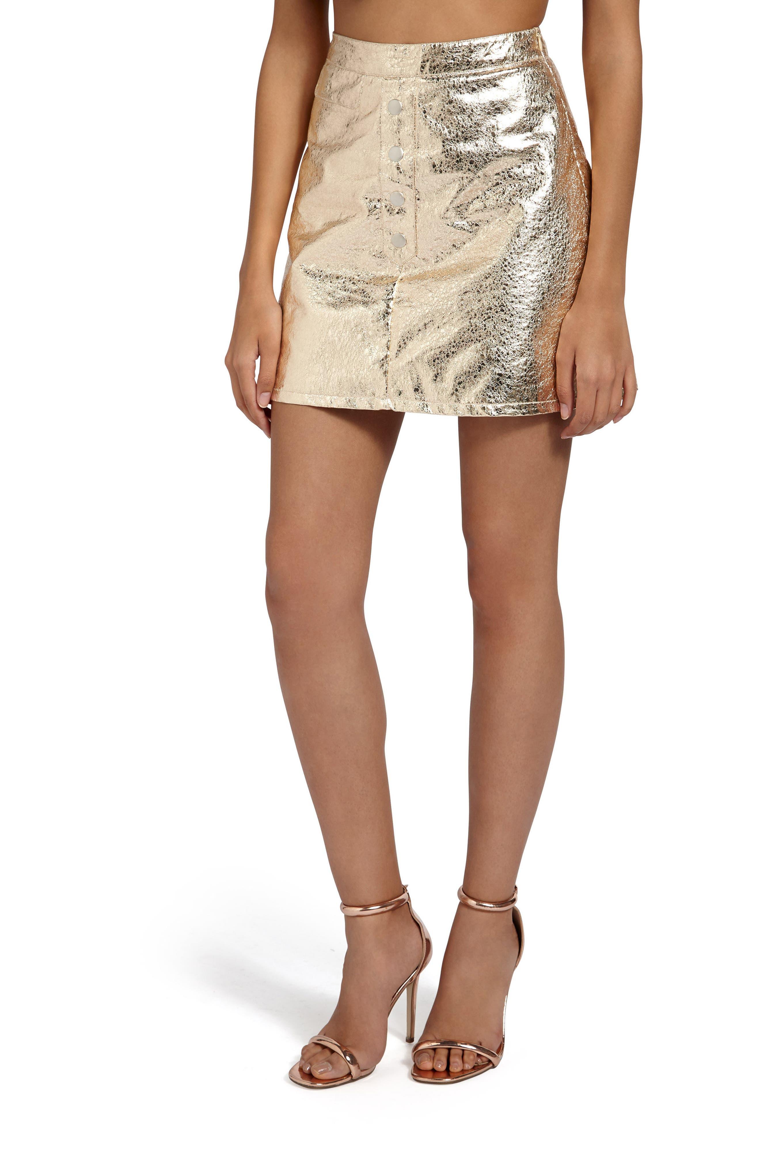 Crackled Metallic Miniskirt,                             Main thumbnail 1, color,                             Gold