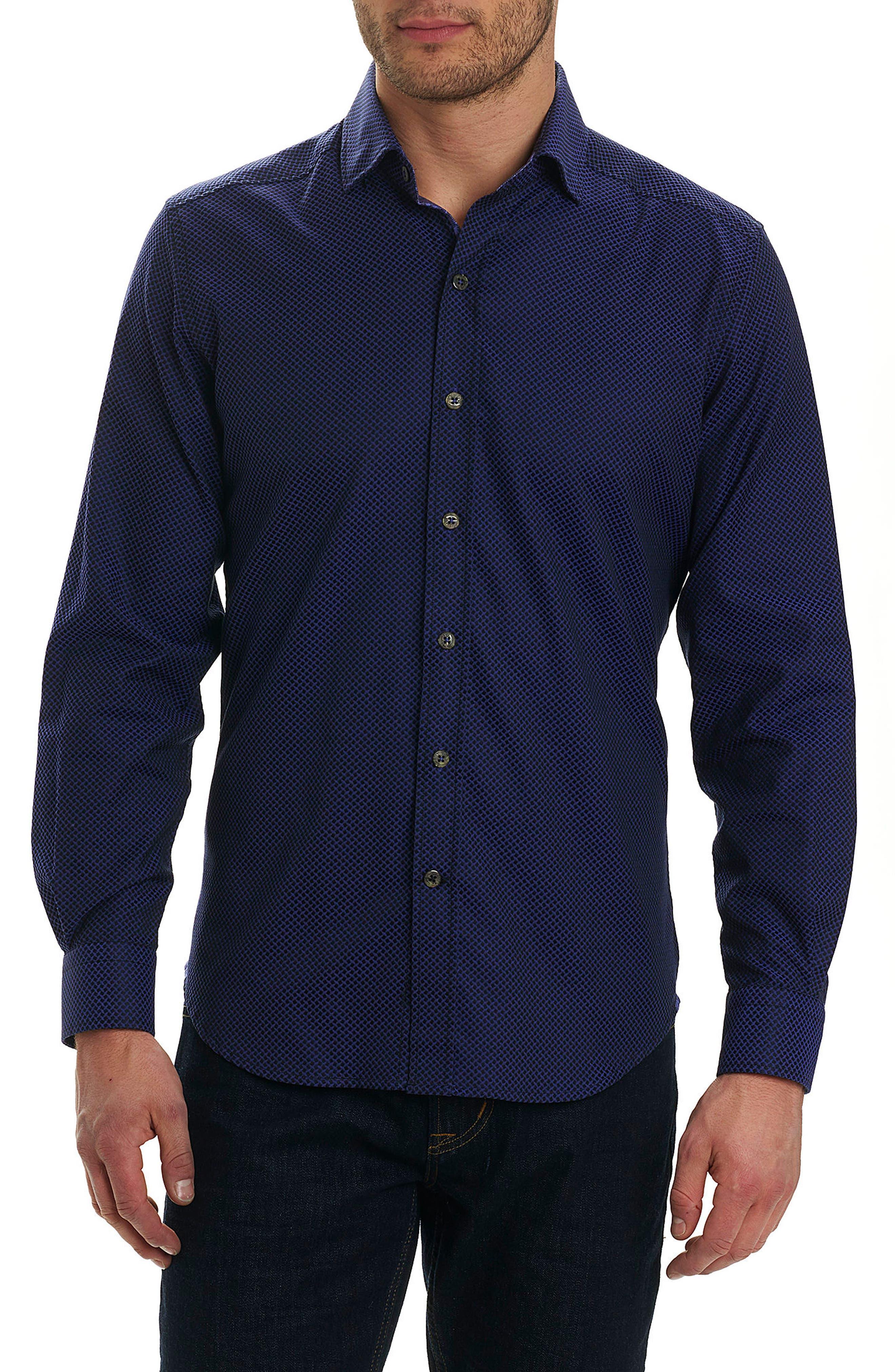 Bernard Print Sport Shirt,                         Main,                         color, Purple