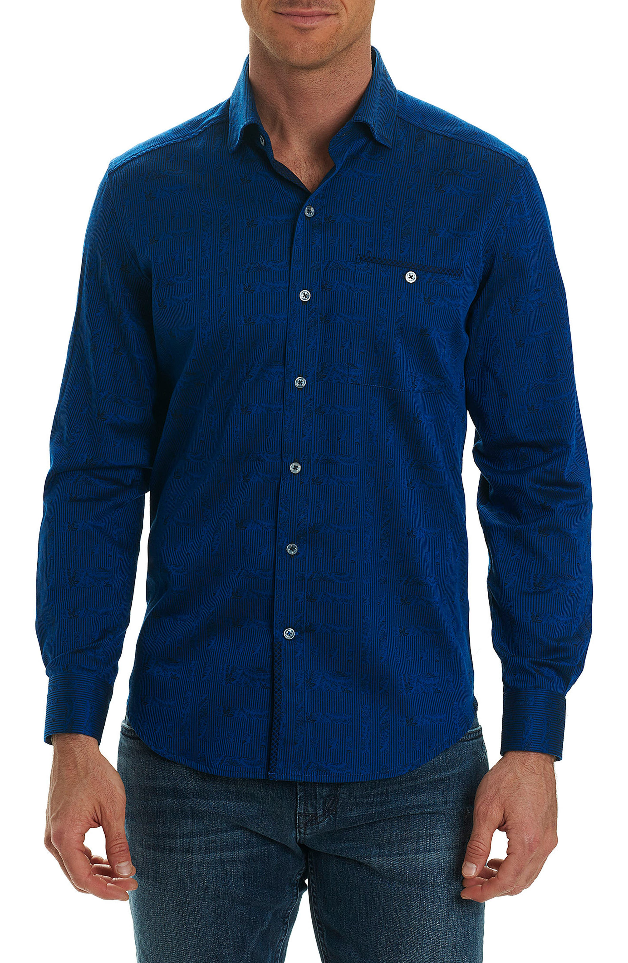 Christopher Print Sport Shirt,                         Main,                         color, Navy