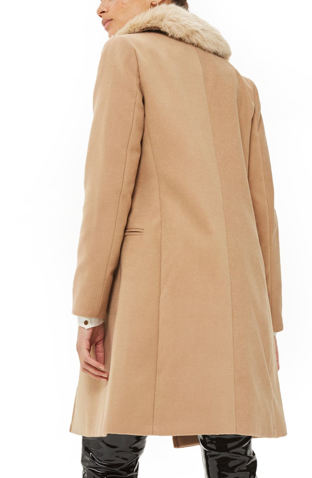 Alternate Image 2  - Topshop Nina Faux Fur Collar Double Breasted Coat