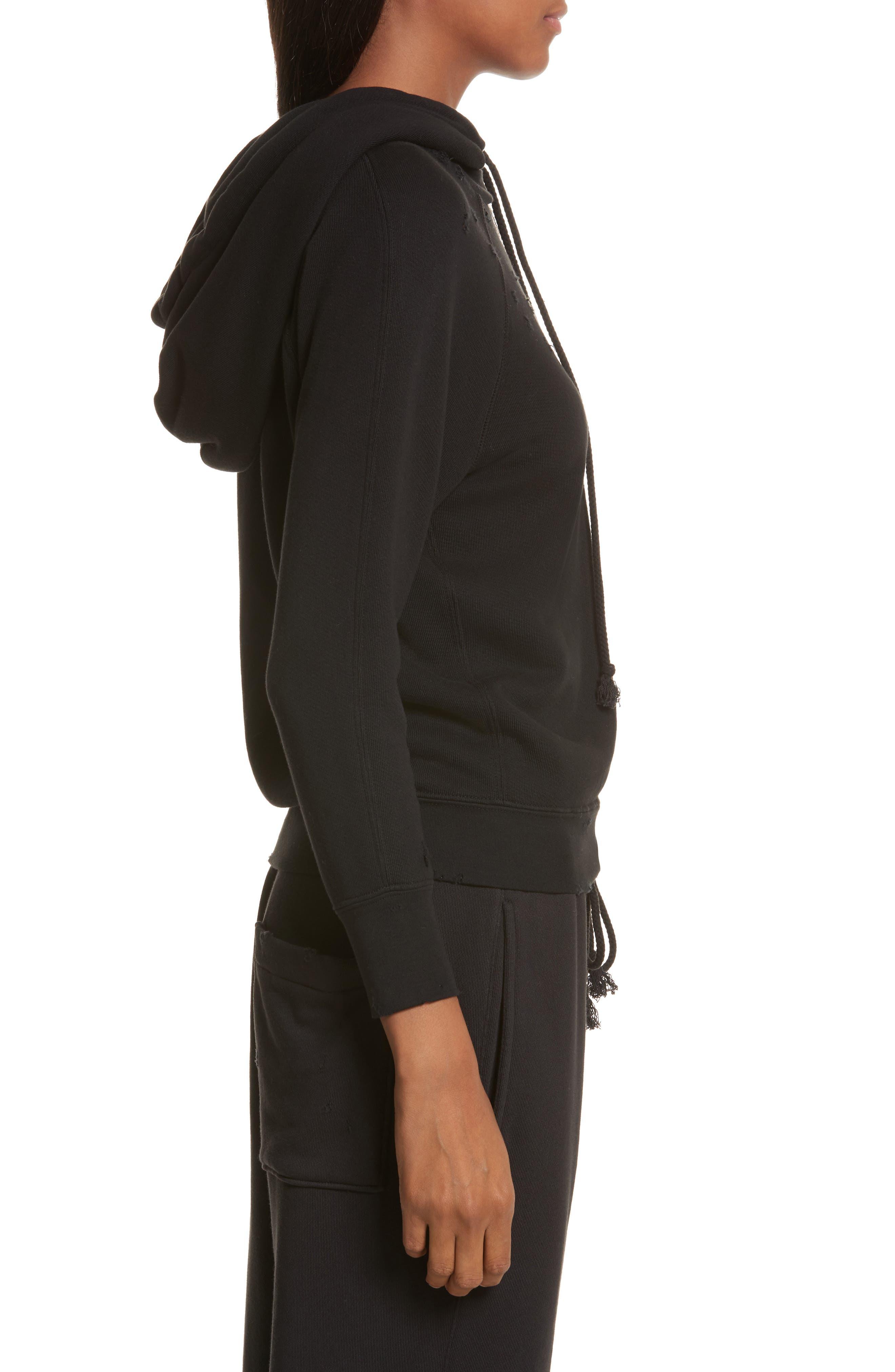 Shrunken Cotton Sweatshirt,                             Alternate thumbnail 3, color,                             Black