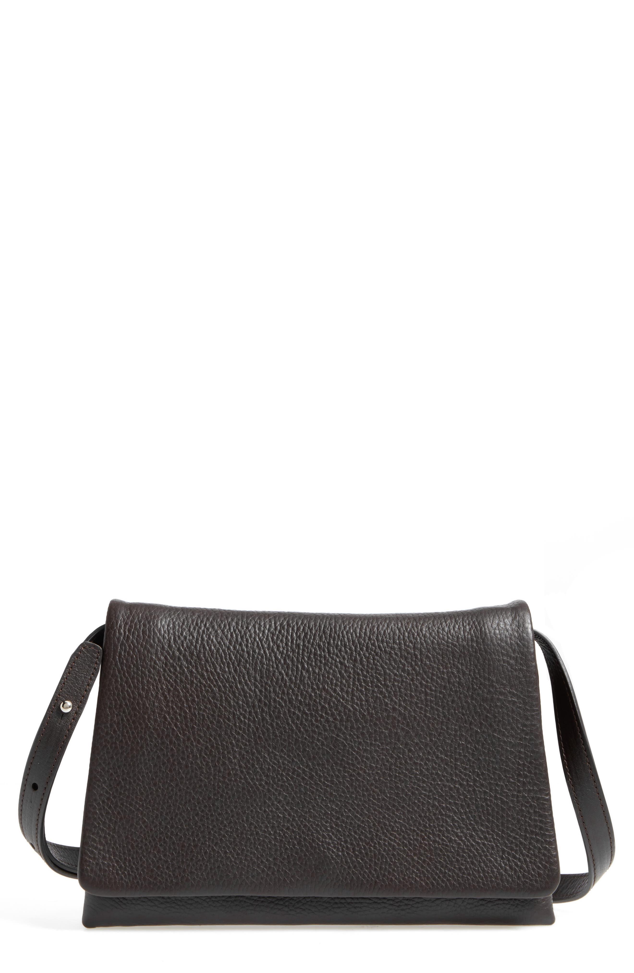 Leather Convertible Shoulder Bag,                             Main thumbnail 1, color,                             Deep Brown