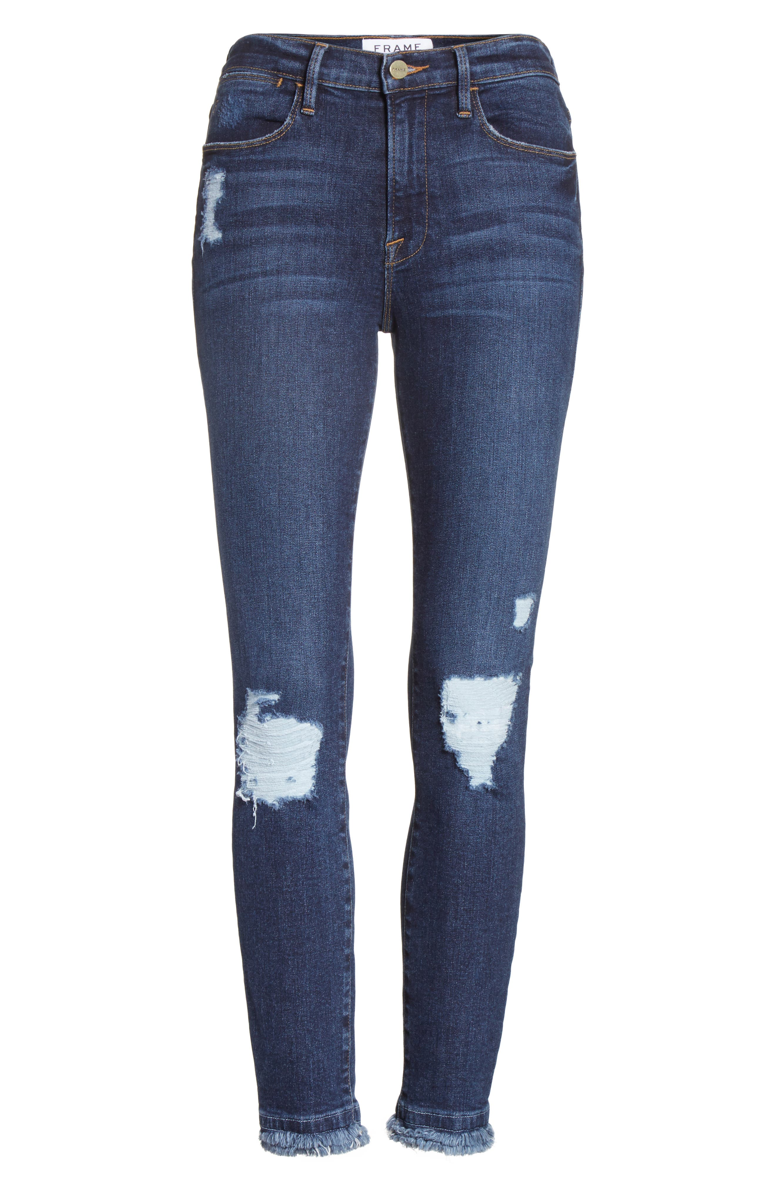 Le High High Waist Ankle Skinny Jeans,                             Alternate thumbnail 7, color,                             Montclair