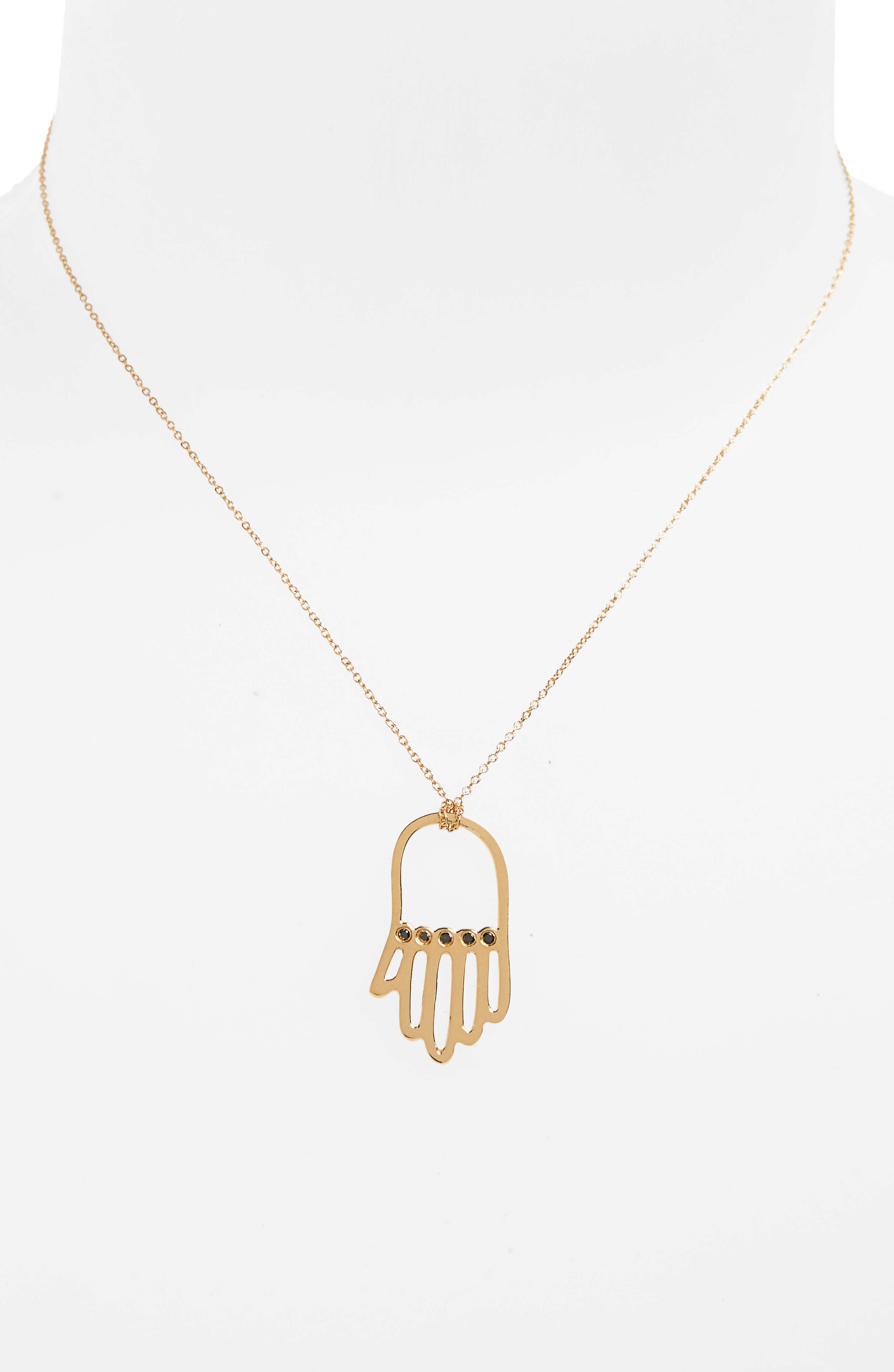 x Rashida Jones Black Diamond Hamsa Pendant Necklace,                             Alternate thumbnail 2, color,                             Yellow Gold