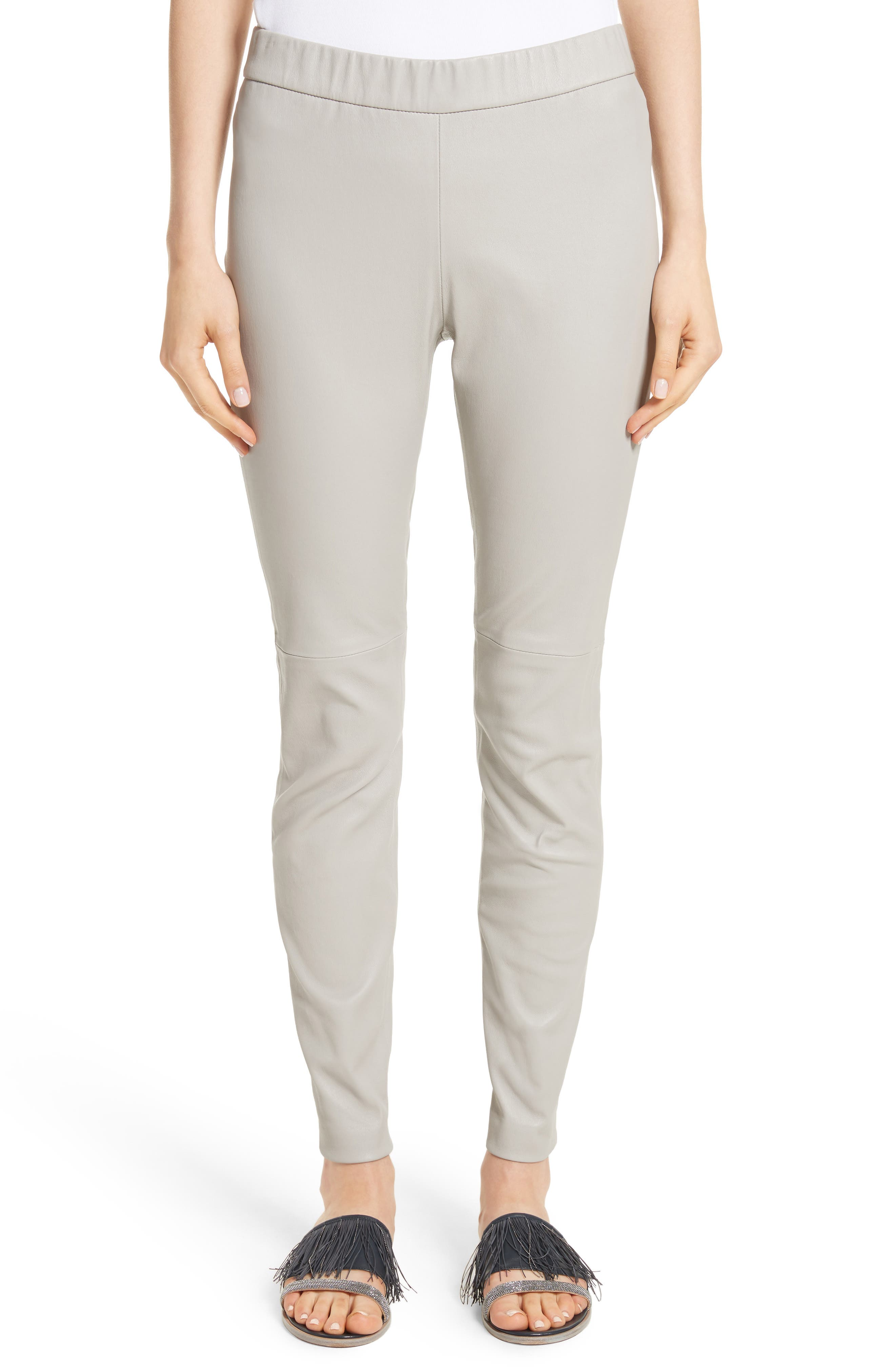 Stretch Leather Leggings,                         Main,                         color, Pearl Grey