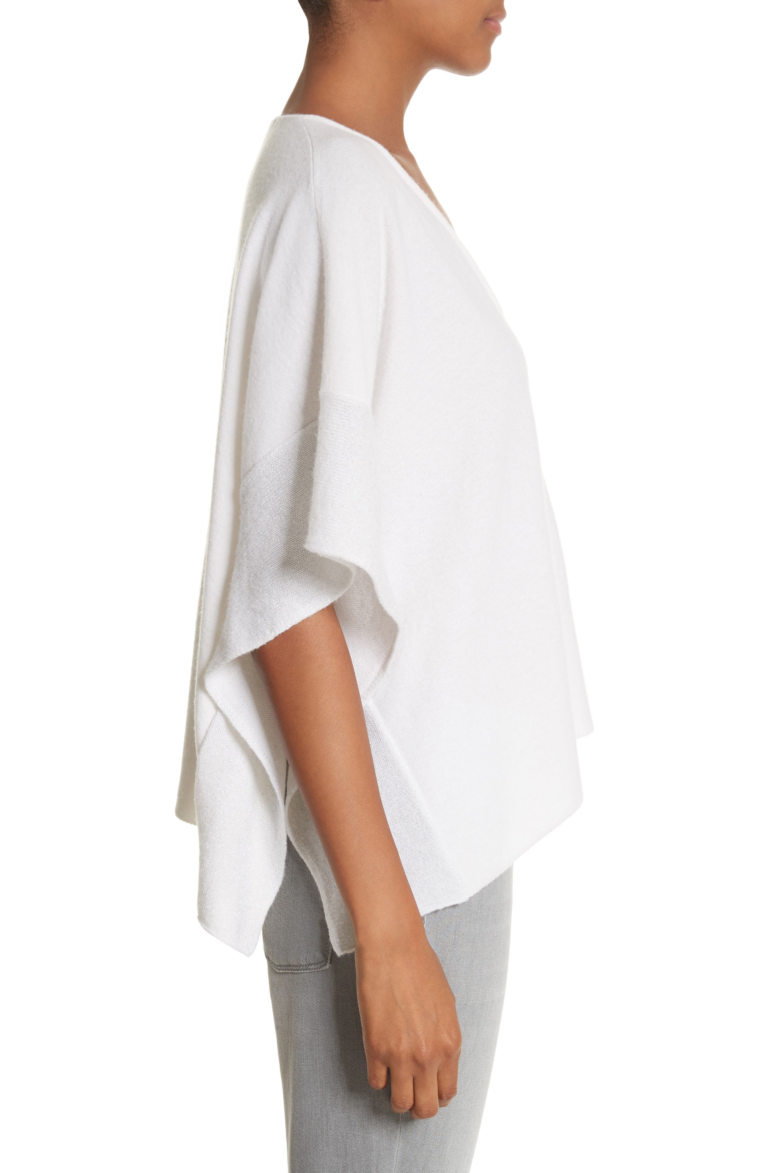 Metallic Cashmere Flutter Sleeve Poncho Sweater,                             Alternate thumbnail 3, color,                             Pure White