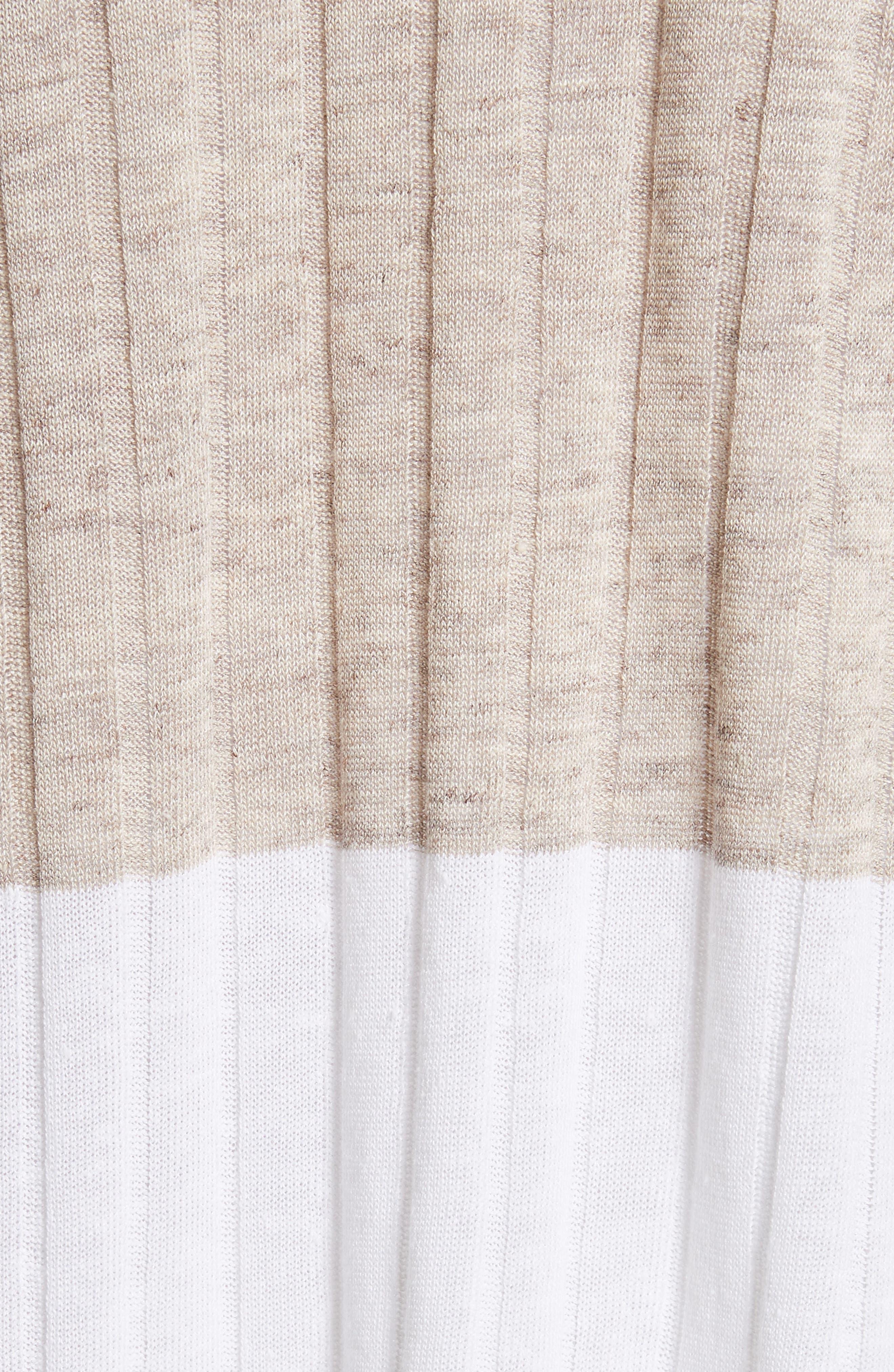 Two-Tone Rib Knit Cardigan,                             Alternate thumbnail 6, color,                             Ecru/ Ivory