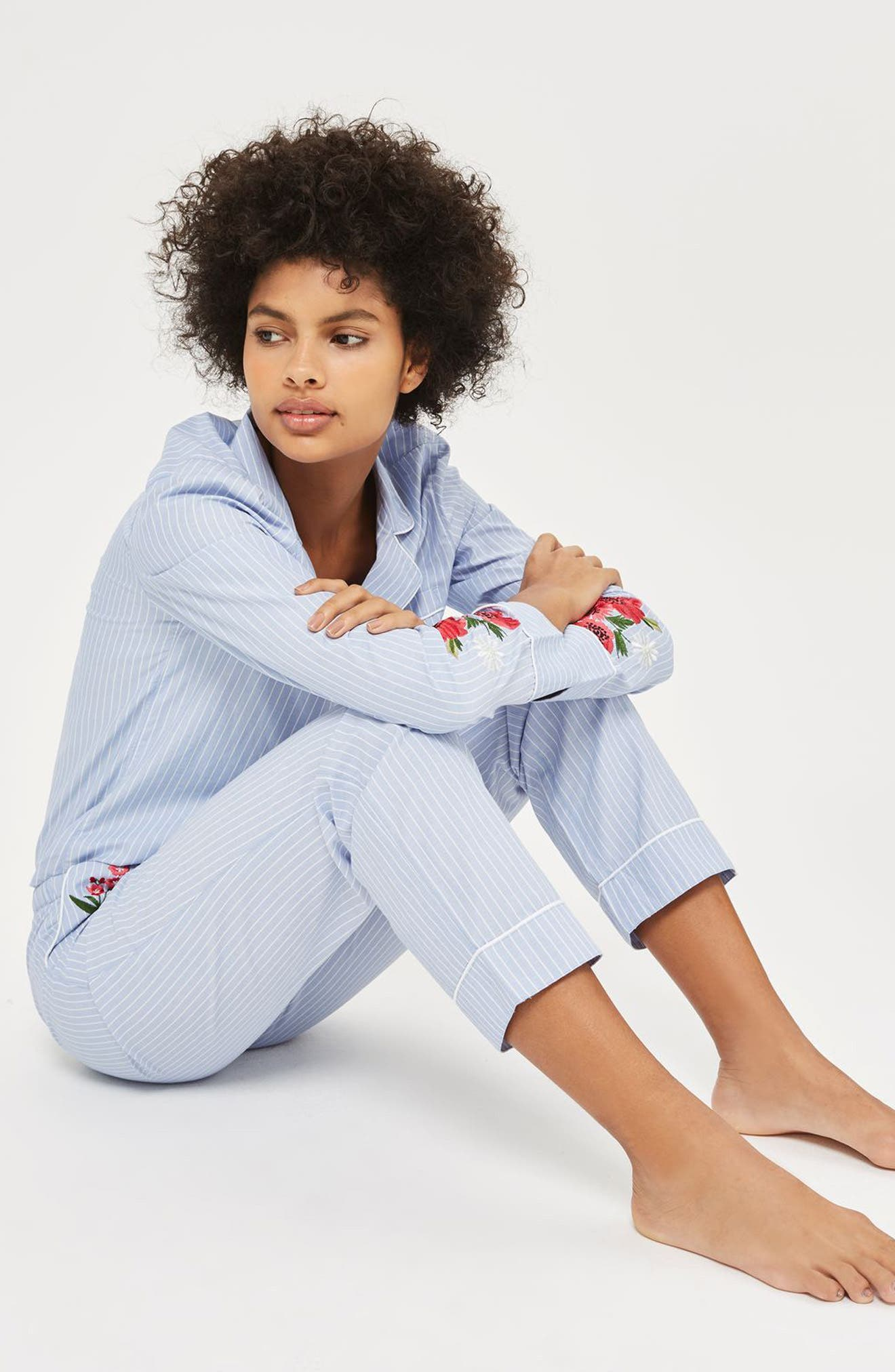 Floral Embroidered Stripe Pajama Pants,                             Alternate thumbnail 4, color,                             Blue Multi