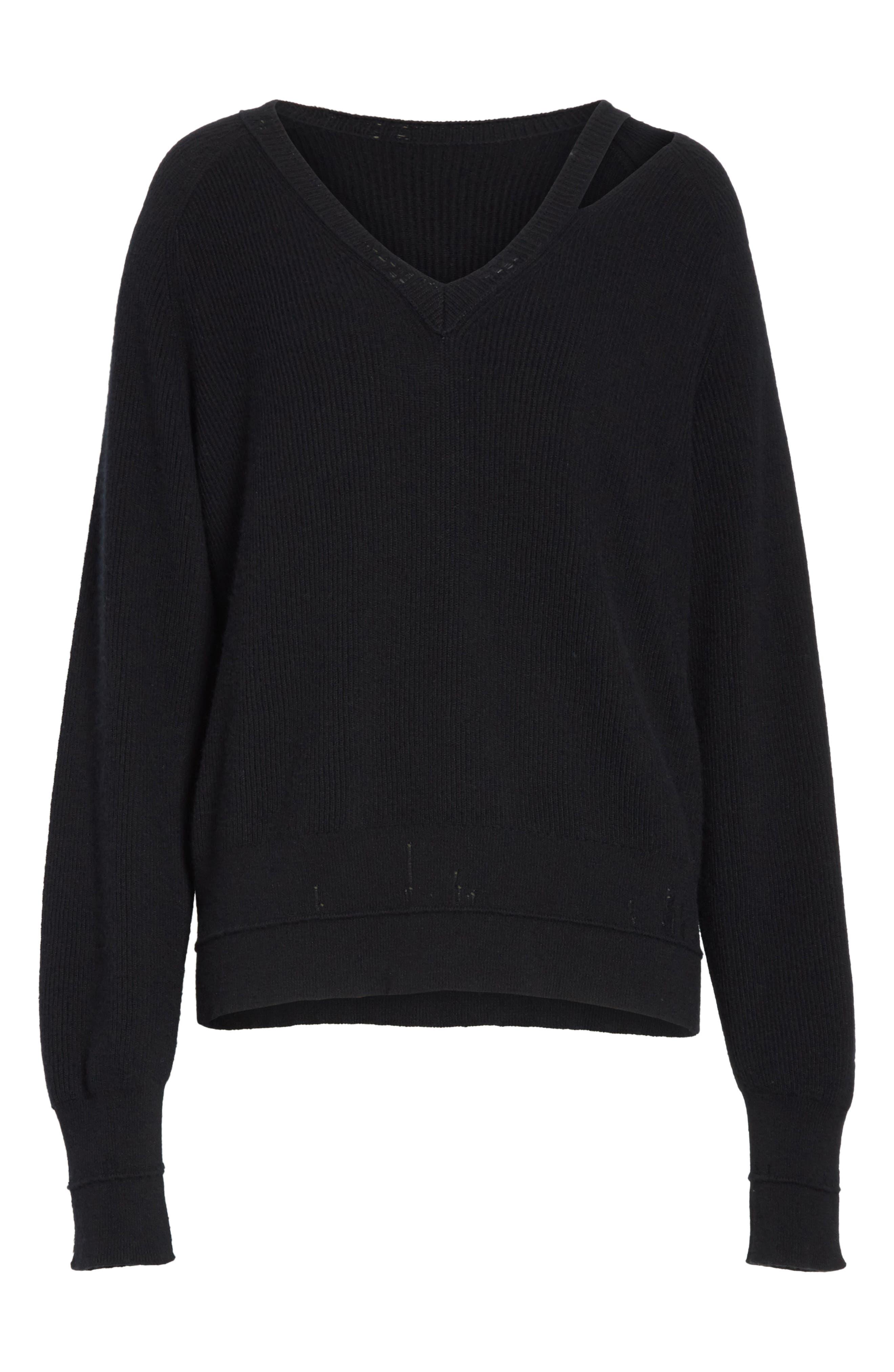 Distressed V-Neck Sweater,                             Alternate thumbnail 6, color,                             Black