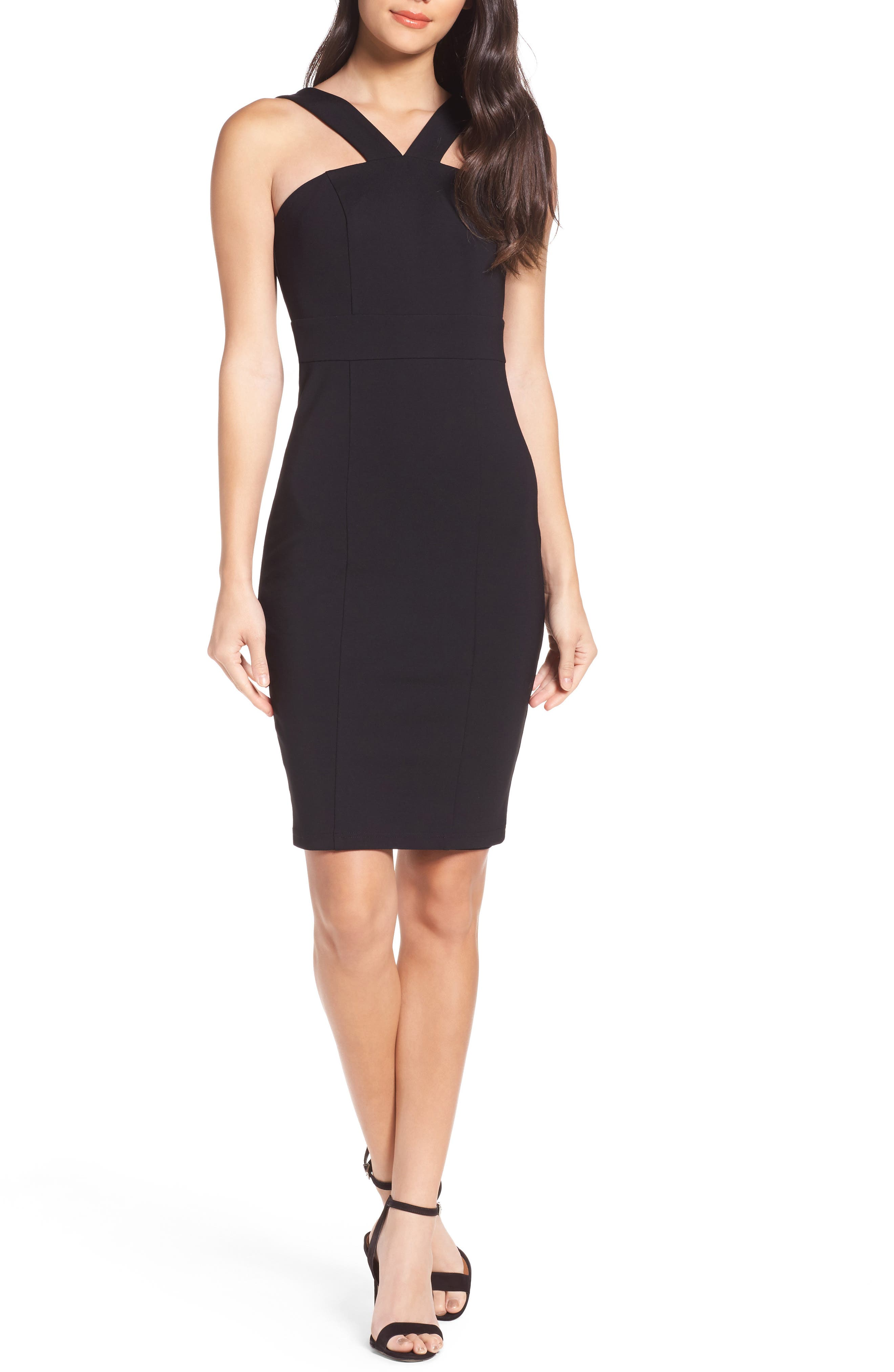 Ali & Jay Socialite Ponte Halter Sheath Dress