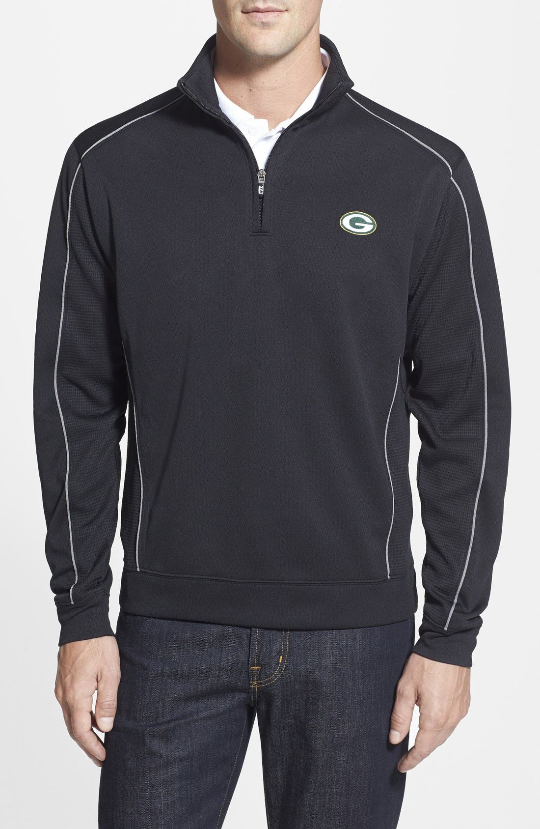 Cutter & Buck 'Green Bay Packers - Edge' DryTec Moisture Wicking Half Zip Pullover (Big & Tall)