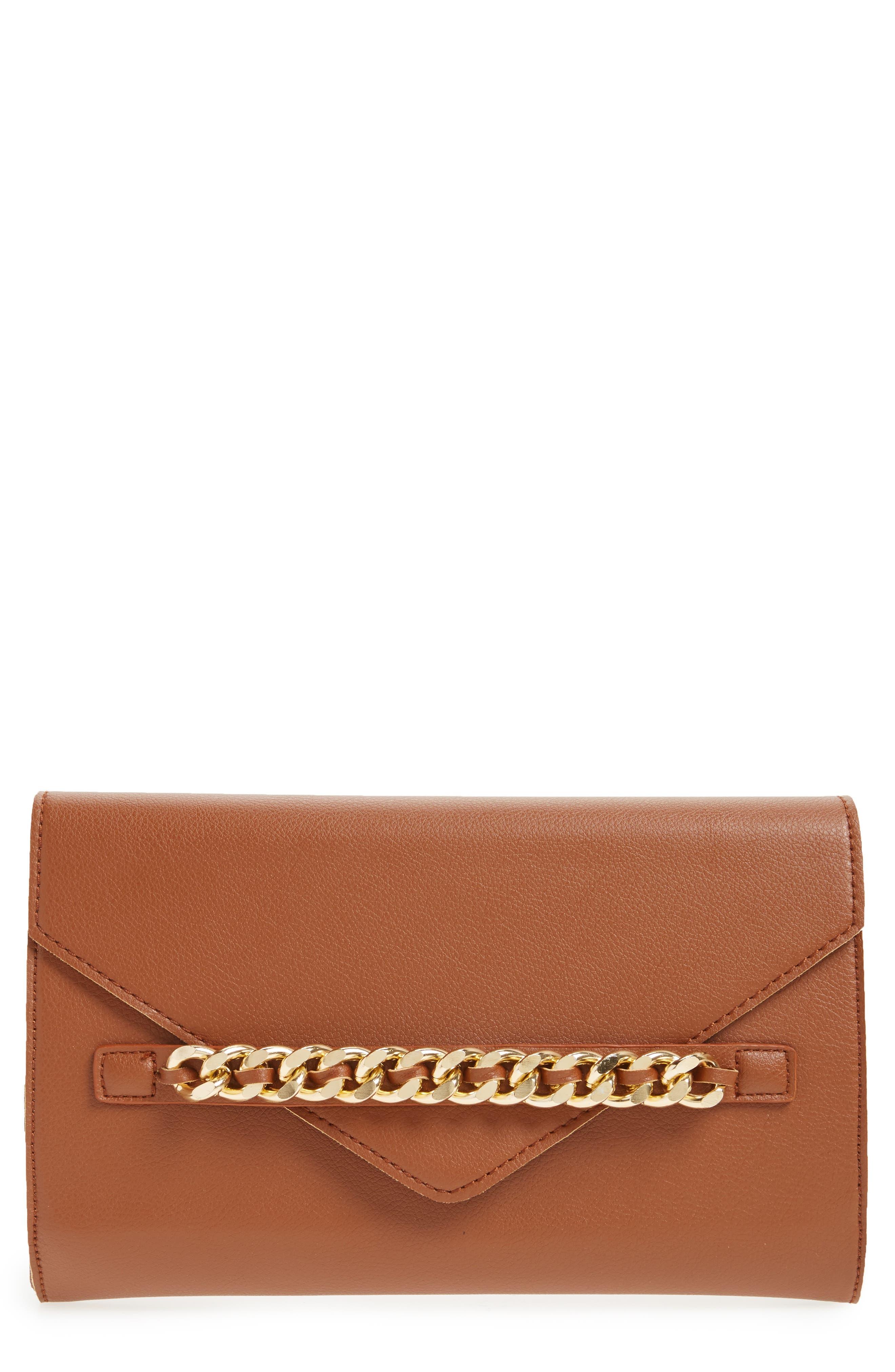 Chain Faux Leather Envelope Clutch,                             Main thumbnail 1, color,                             Cognac