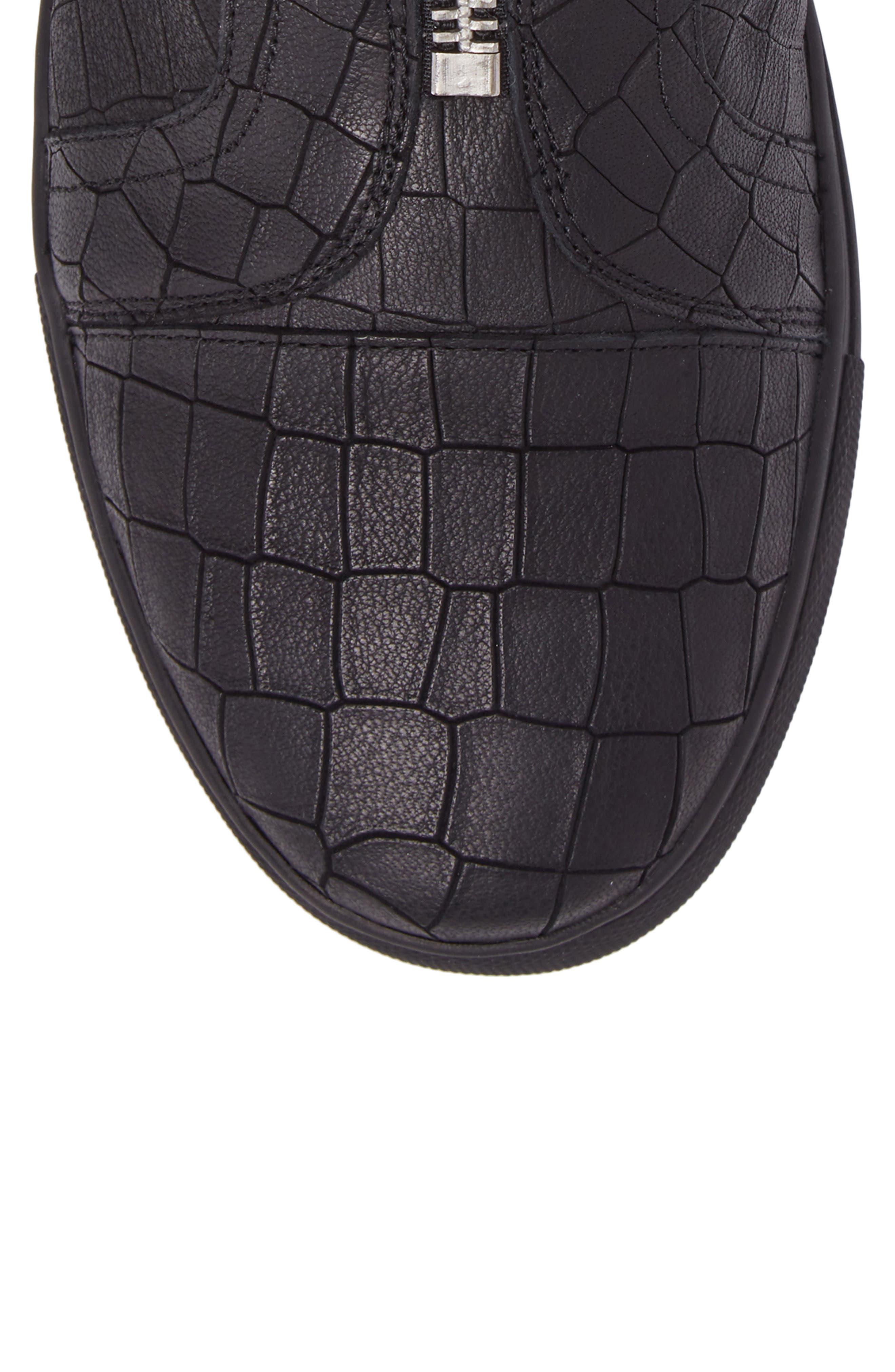 Hip & Bone Zip Boot,                             Alternate thumbnail 5, color,                             Black Croc Leather
