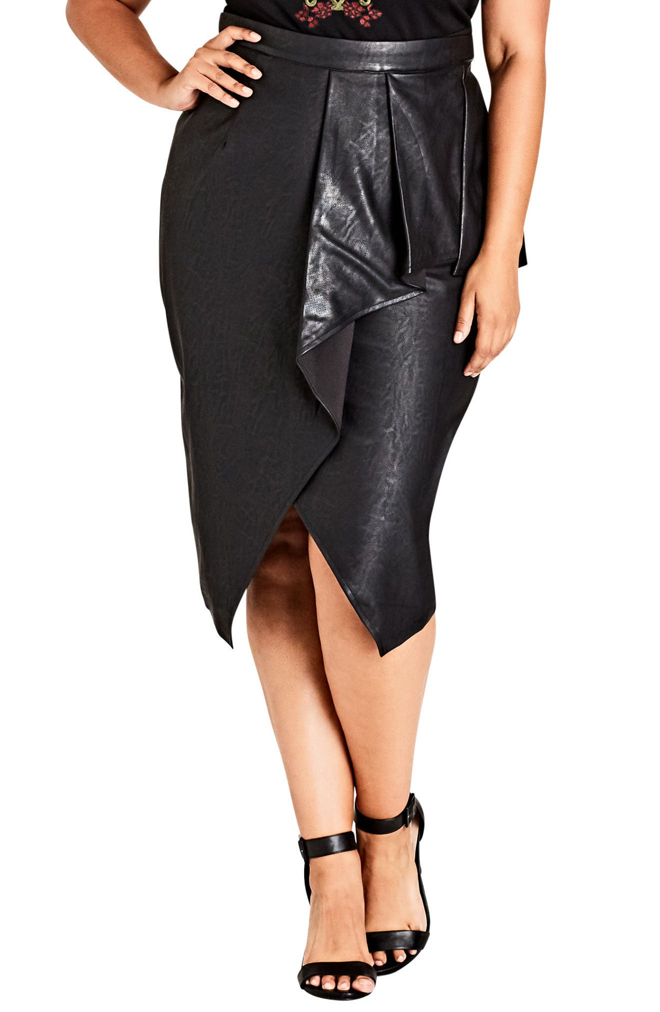 Main Image - City Chic Faux Leather Skirt (Plus Size)