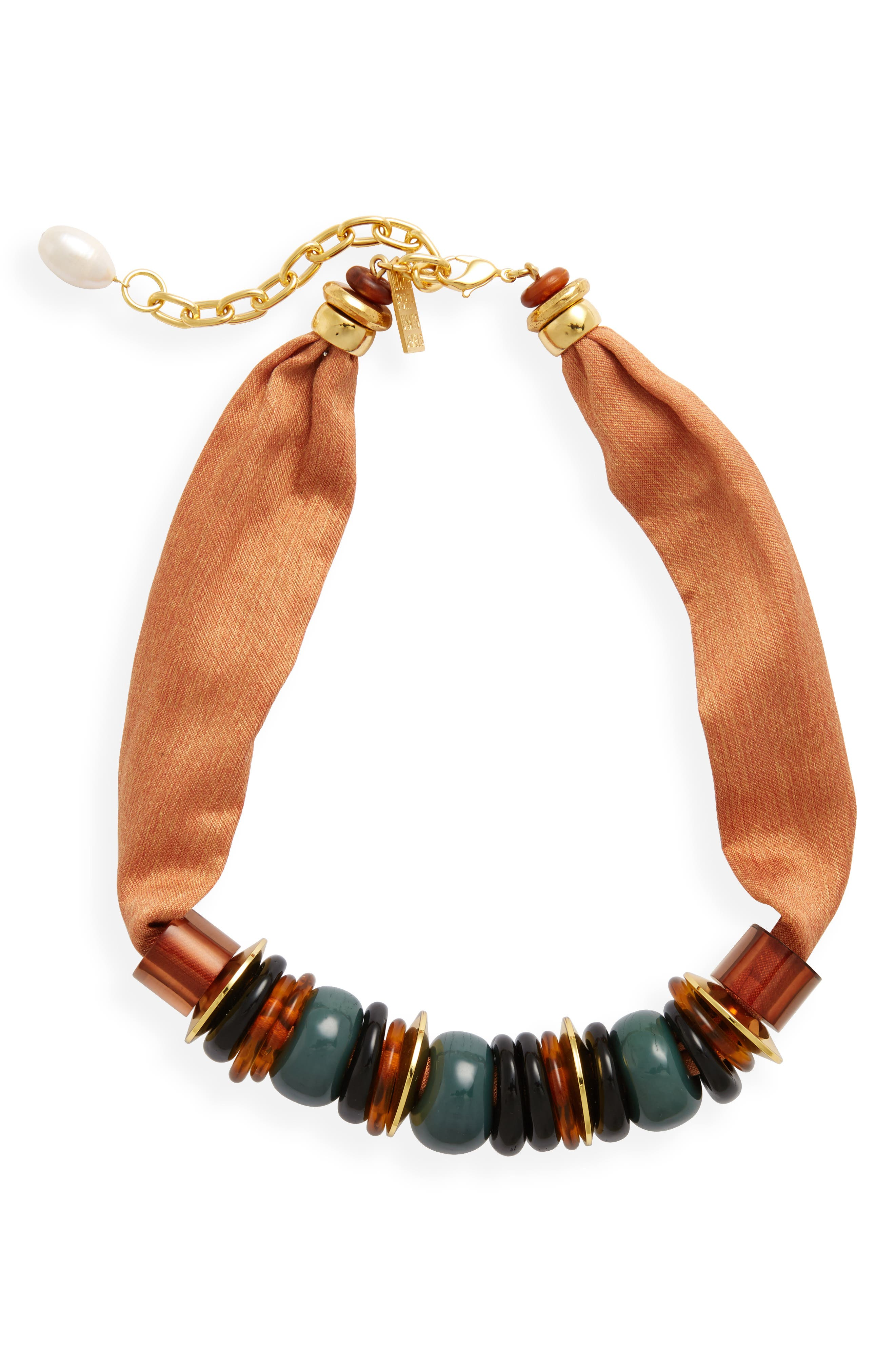Out of Africa Beaded Ribbon Necklace,                         Main,                         color, Peach
