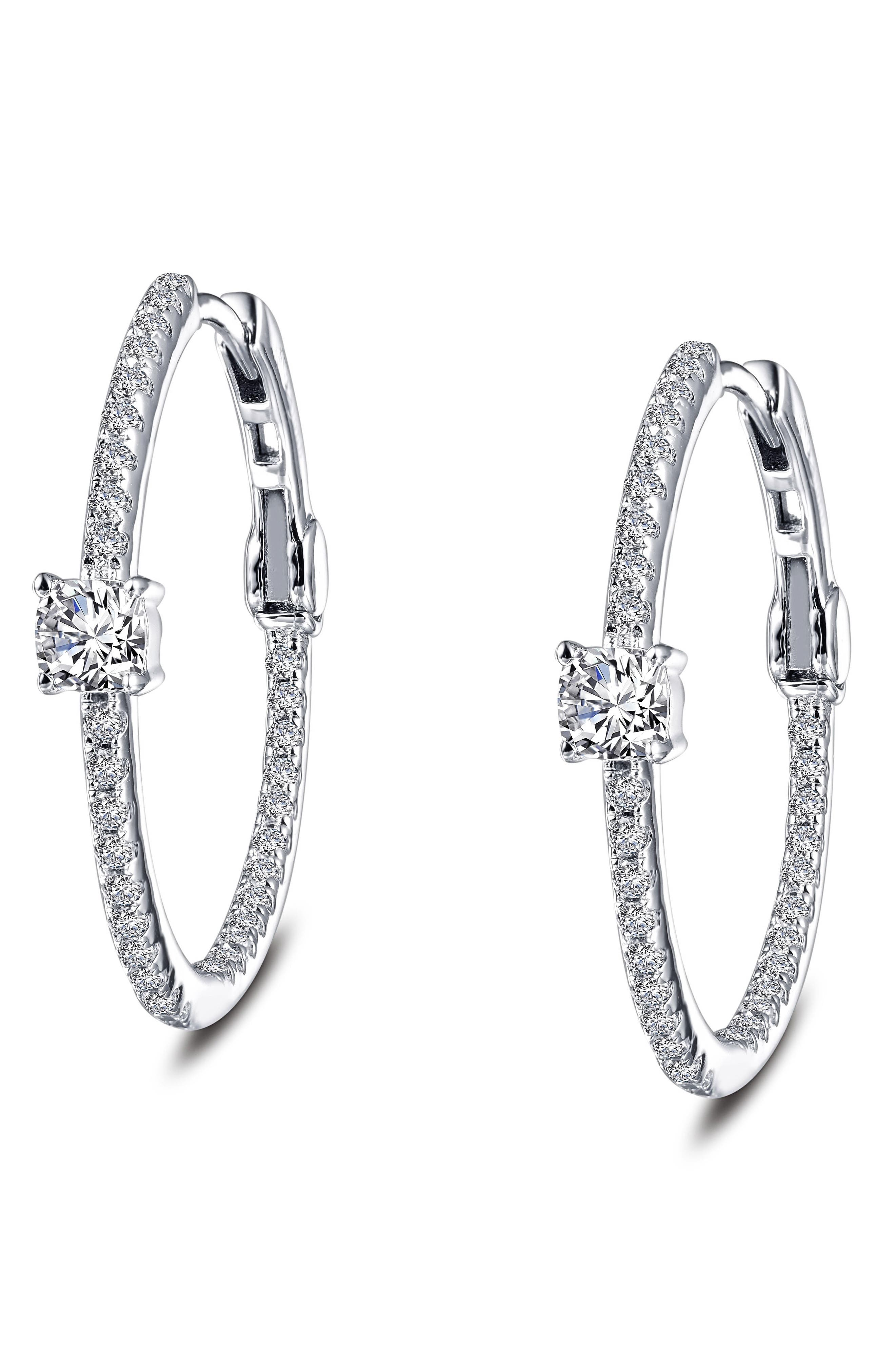 Simulated Diamond Hoop Earrings,                             Alternate thumbnail 3, color,                             Silver/ Clear