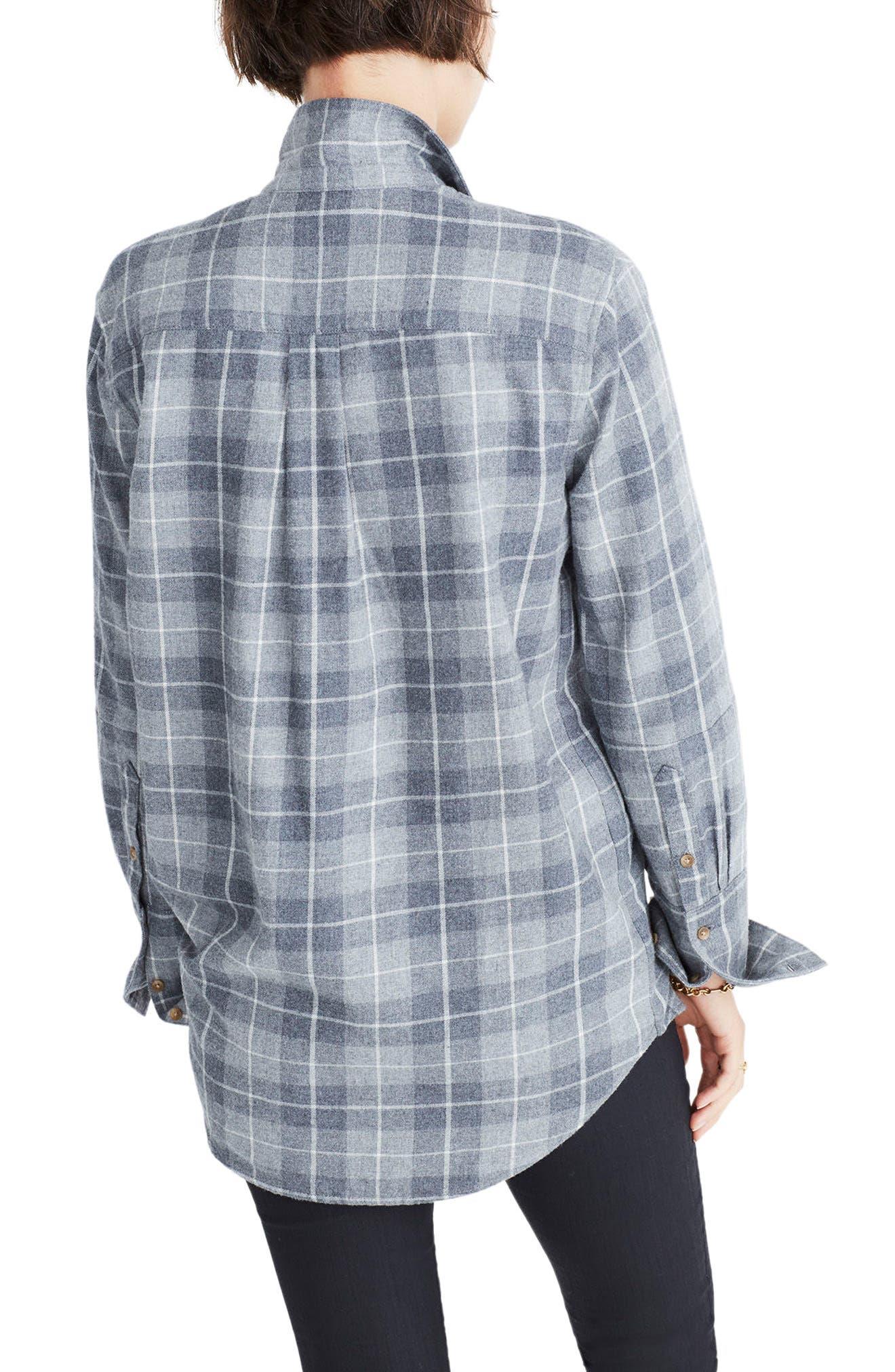 Bristol Plaid Flannel Shirt,                             Alternate thumbnail 2, color,                             Steel Morning