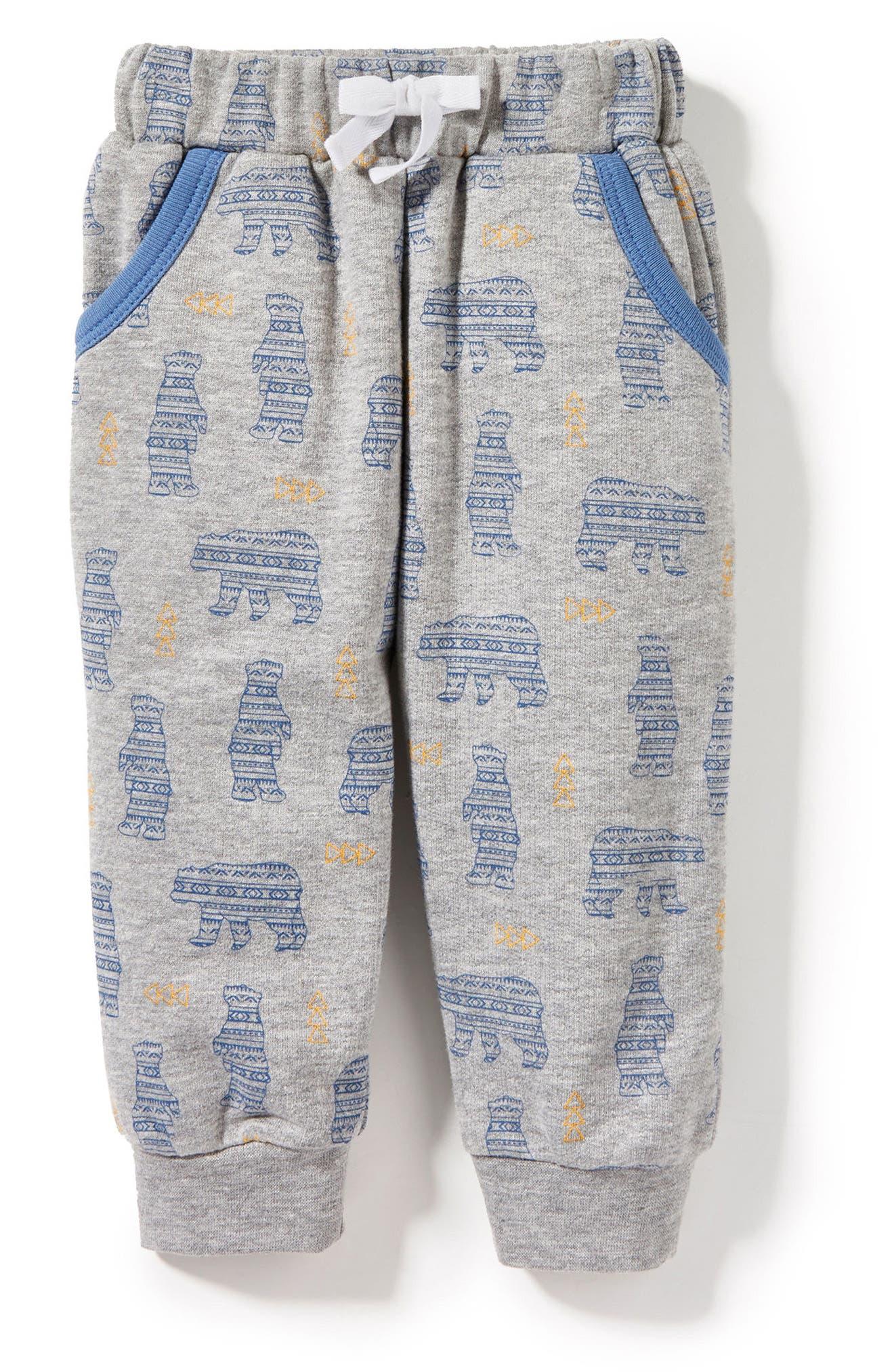 Peek Bear Sweatpants,                         Main,                         color, Heather Grey