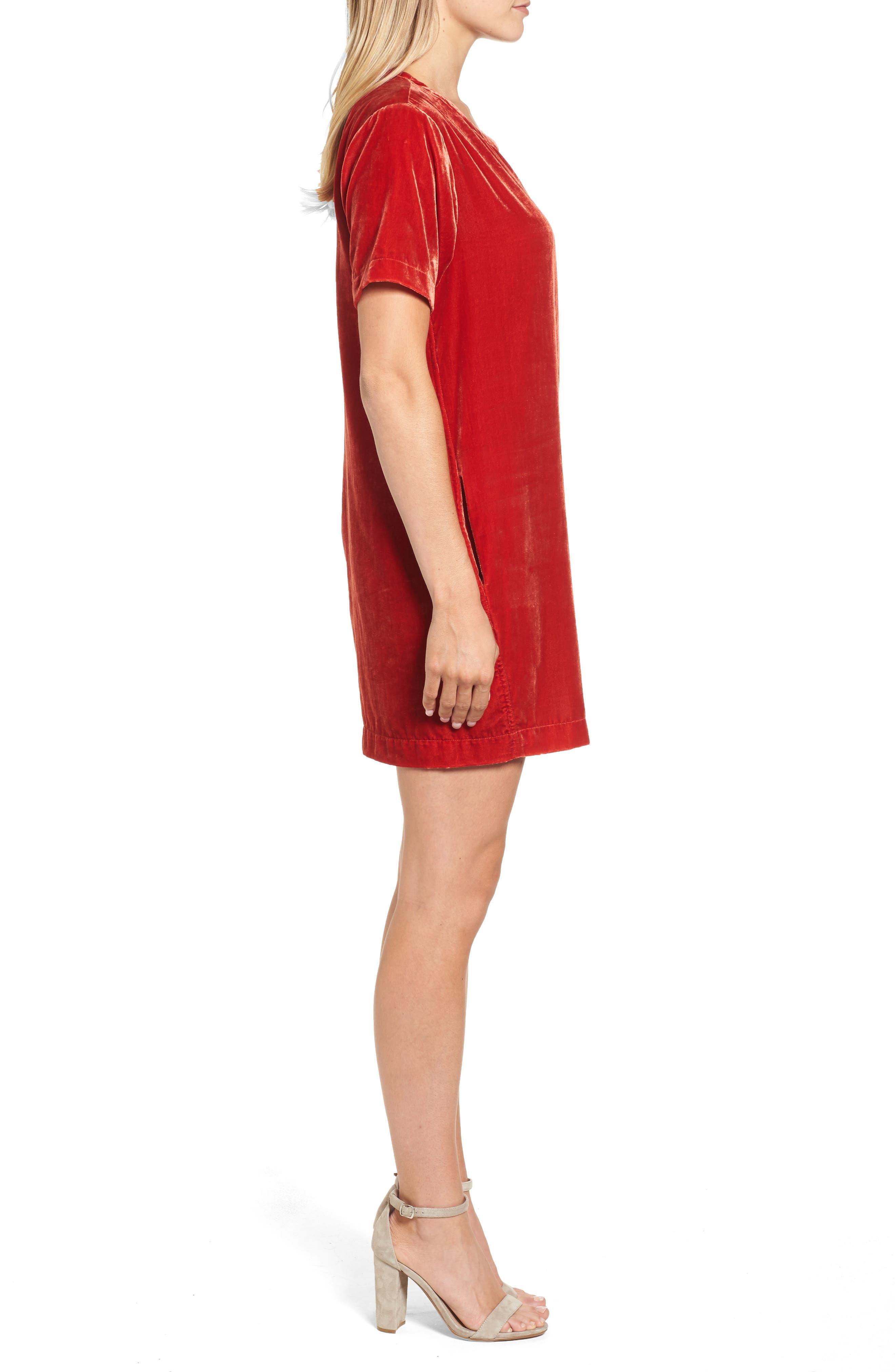 Zip Shoulder Velvet Shift Dress,                             Alternate thumbnail 3, color,                             Cherry