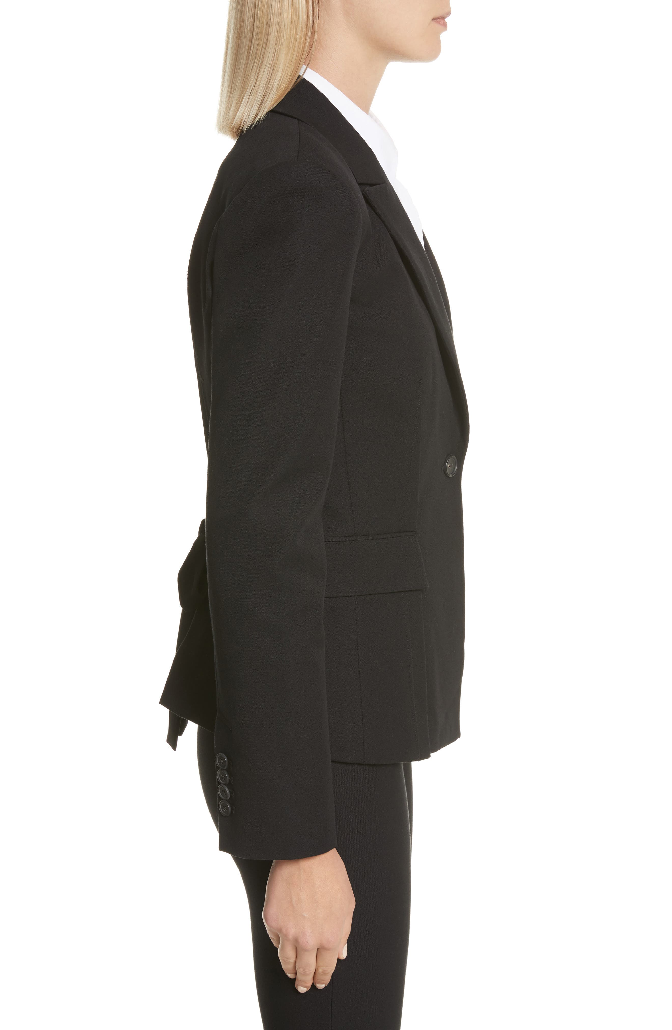 Grommet Tie Back Blazer,                             Alternate thumbnail 3, color,                             Black