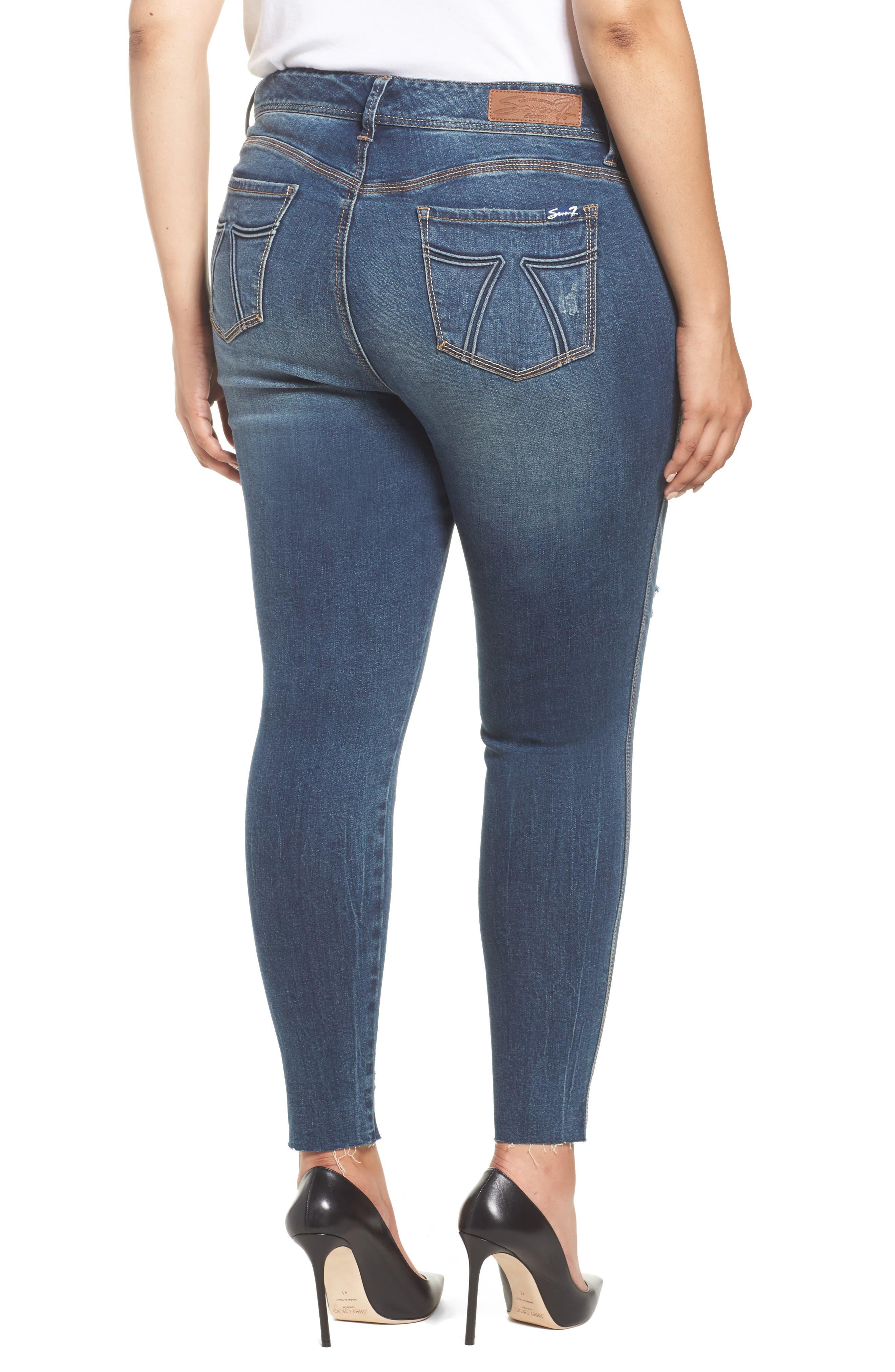 Alternate Image 2  - Seven7 Distressed Raw Hem Skinny Jeans (Melbourne) (Plus Size)