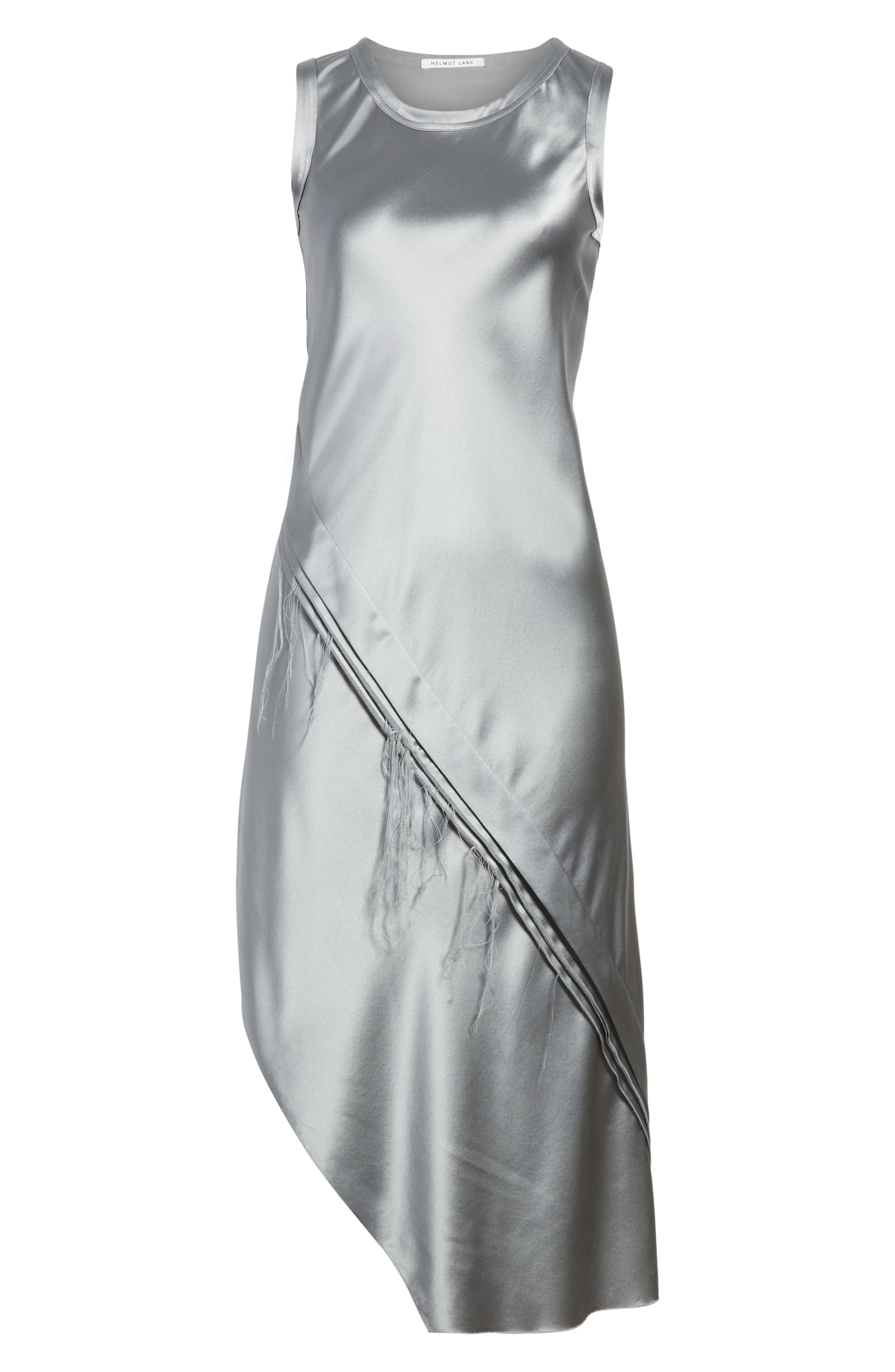 Lacquered Silk Asymmetrical Dress,                             Alternate thumbnail 6, color,                             Grey Pebble