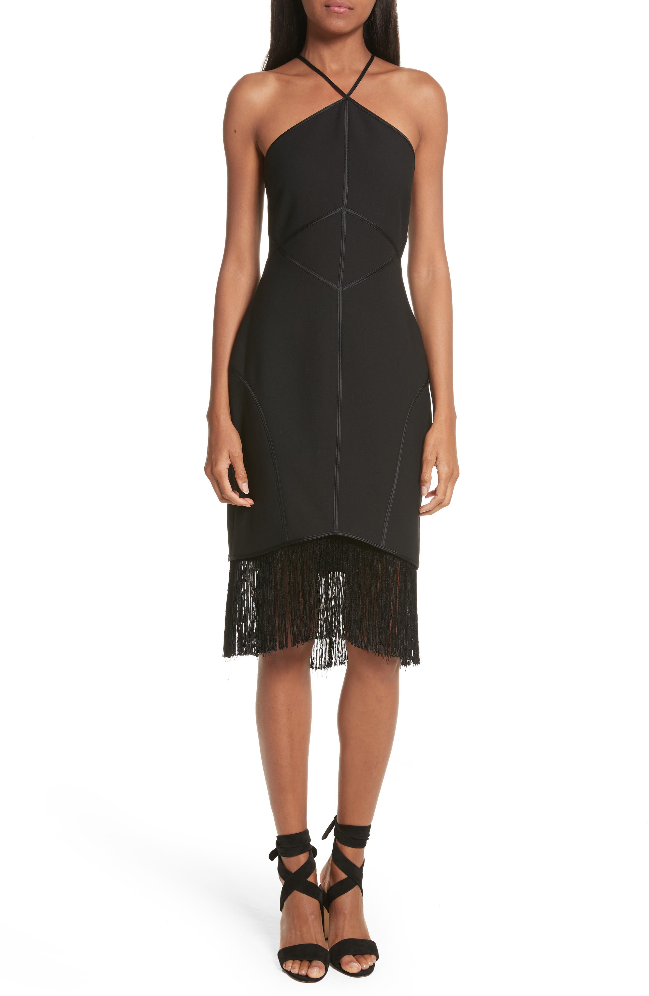 Bryn Halter Dress,                             Main thumbnail 1, color,                             Black