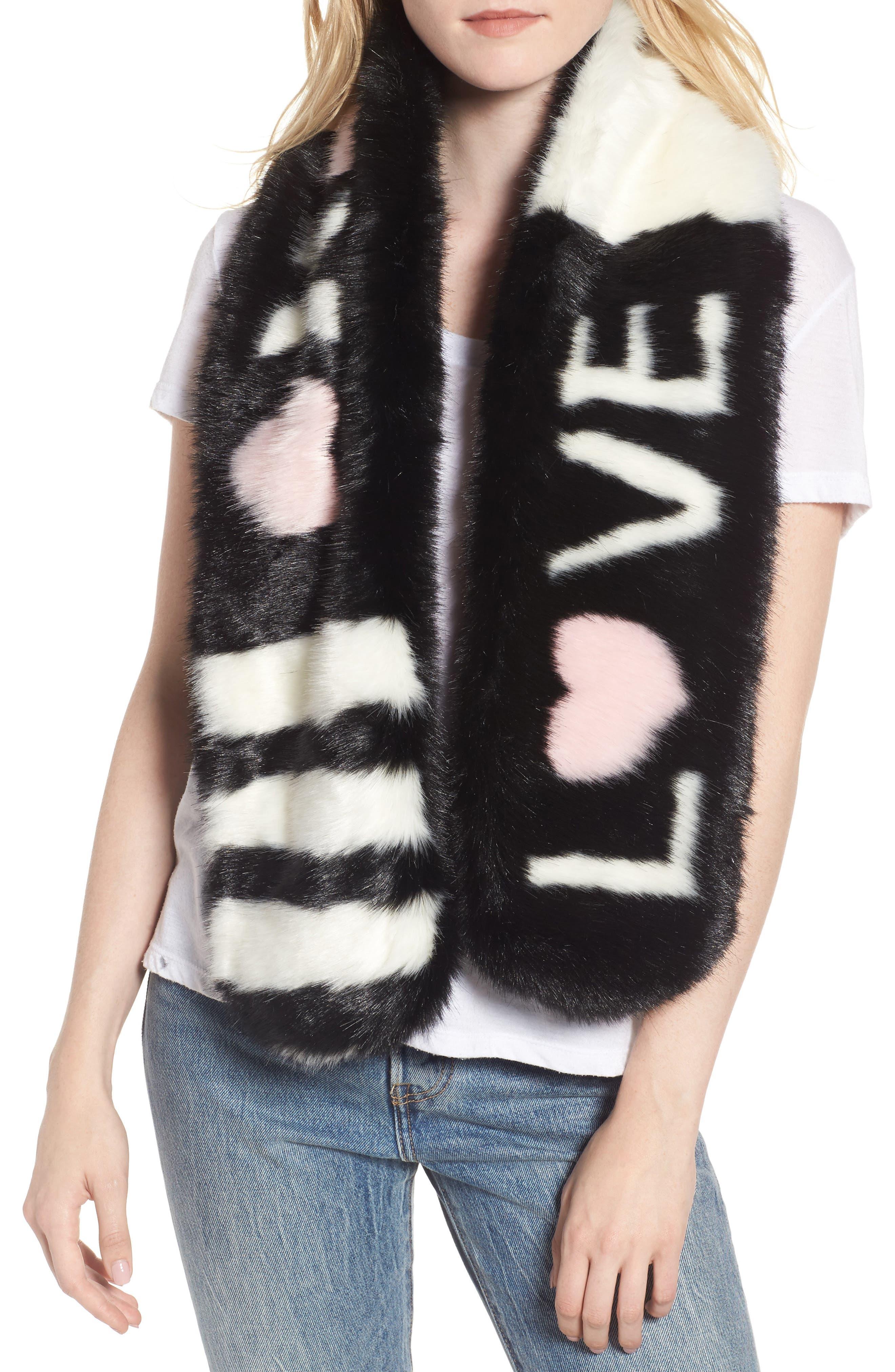 Love Faux Fur Stole,                             Main thumbnail 1, color,                             Black/ White